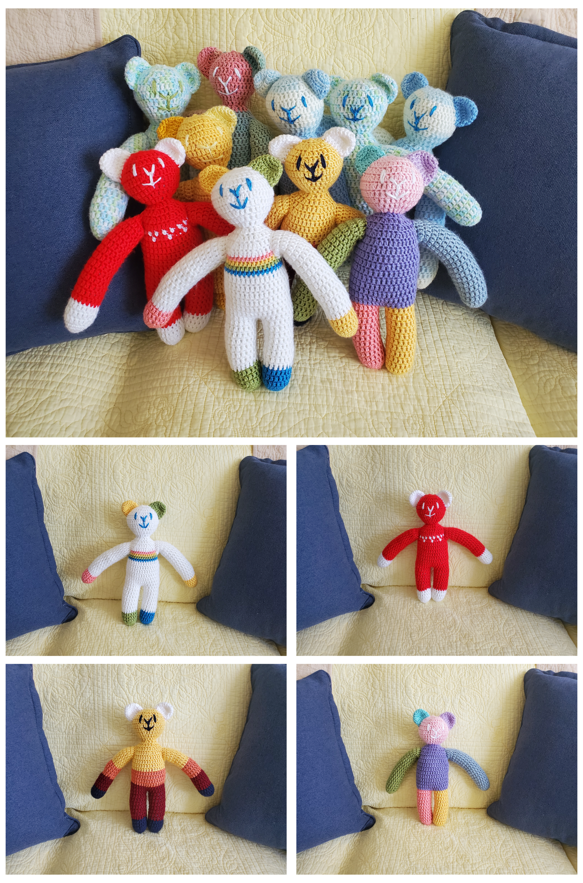 A photo of a group of ten crocheted teddy bears with slightly-too-long arms on the yellow fabric background with two blue throw pillows next to them. They all have a simple smiling expression on their faces made with contrasting yarns. Below this image ar