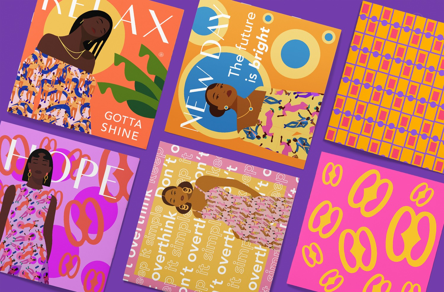 A series of 6 posters laid out in a grid format on a purple background. The posters feature flat graphic illustrations of women. Each one wears a different pattern from my collection. Words/terms like Relax, Hope, and New Day, etc. are used as titles. Add