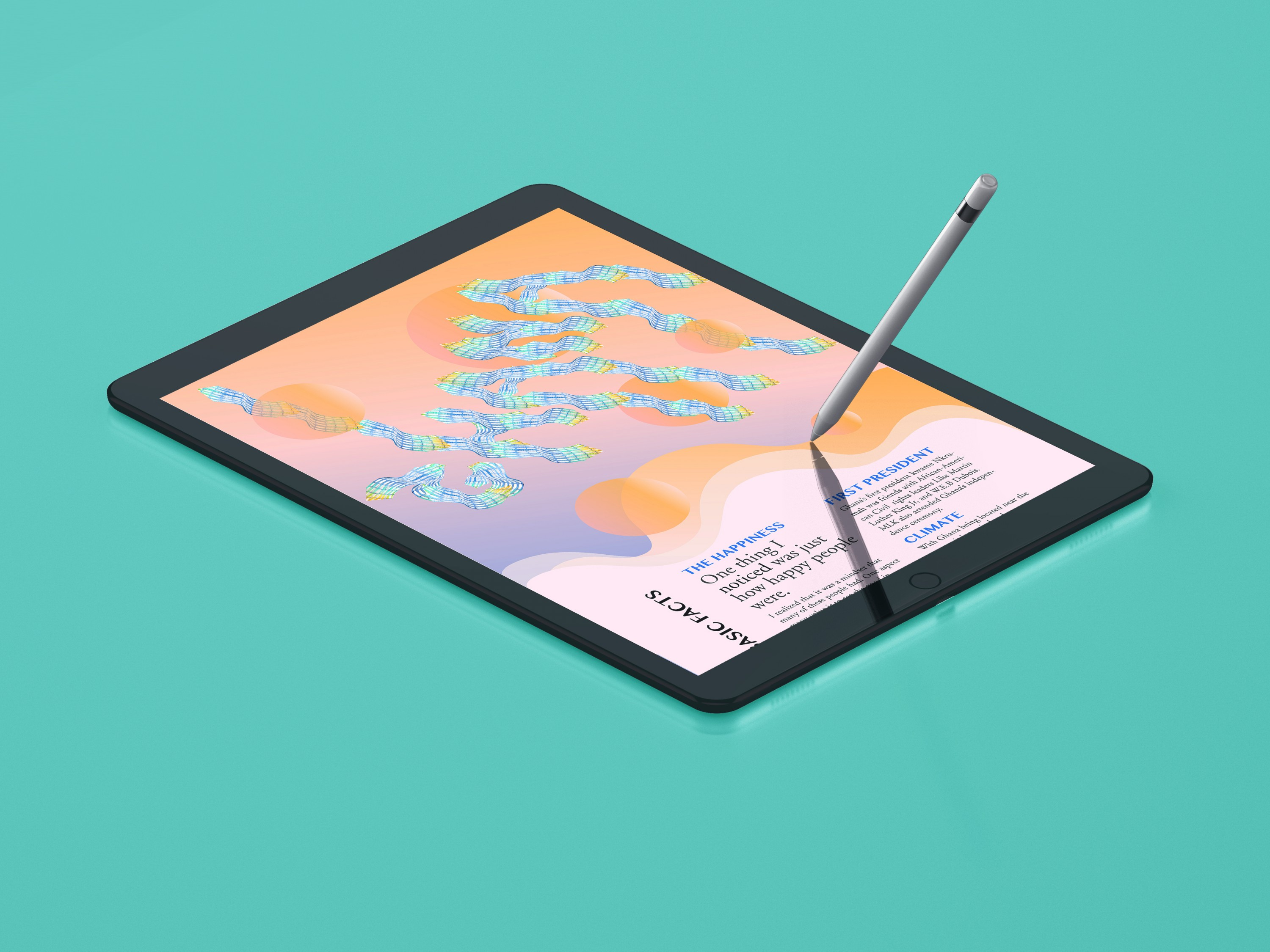 "An image of a web design on an iPad screen against a teal background. The title of the site reads ""Ghana""."