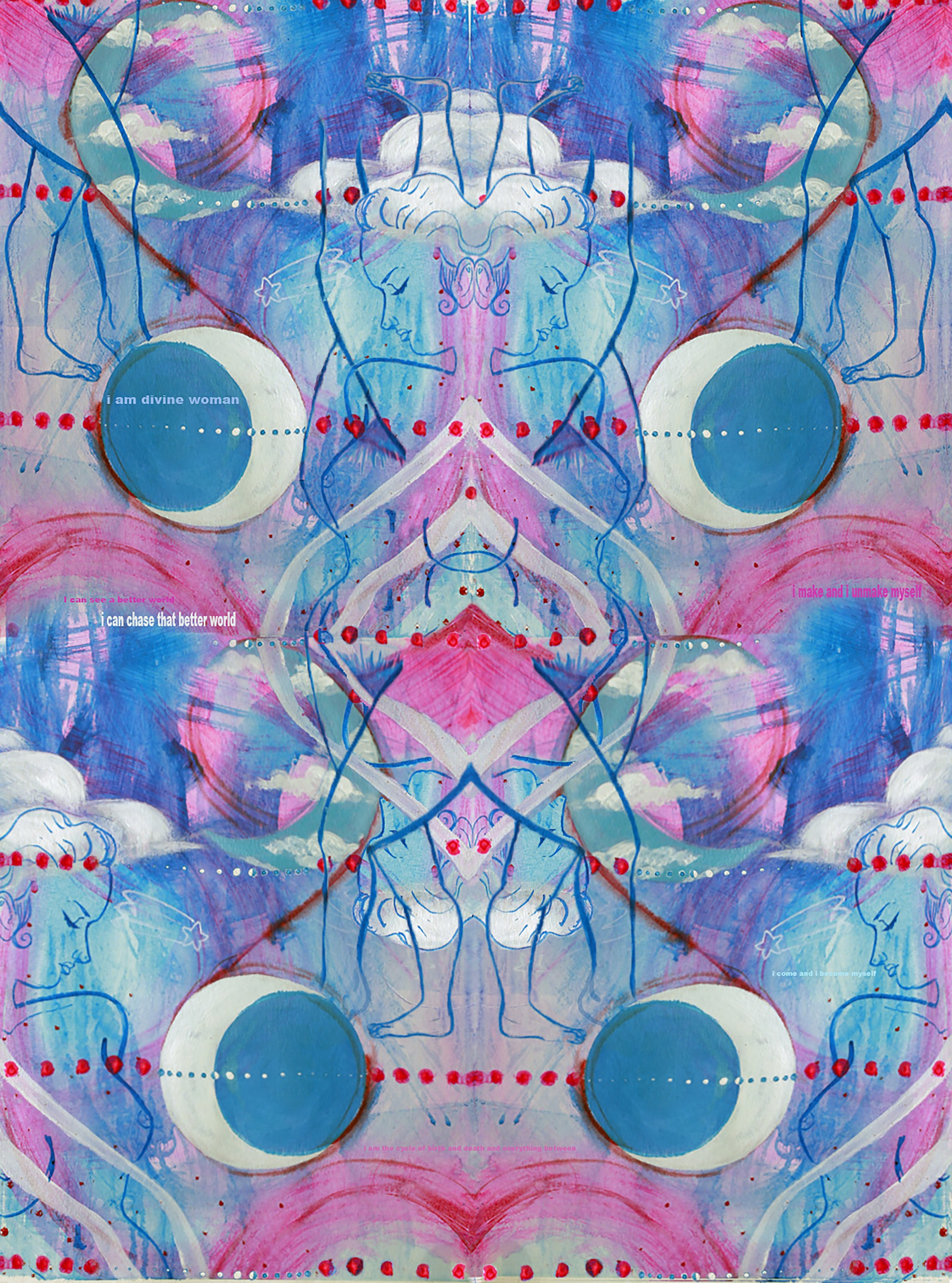 A pink and blue patterned image making use of a crescent moon motif, a line of pink dots, a triple-breasted female nude form, and some white clouds.