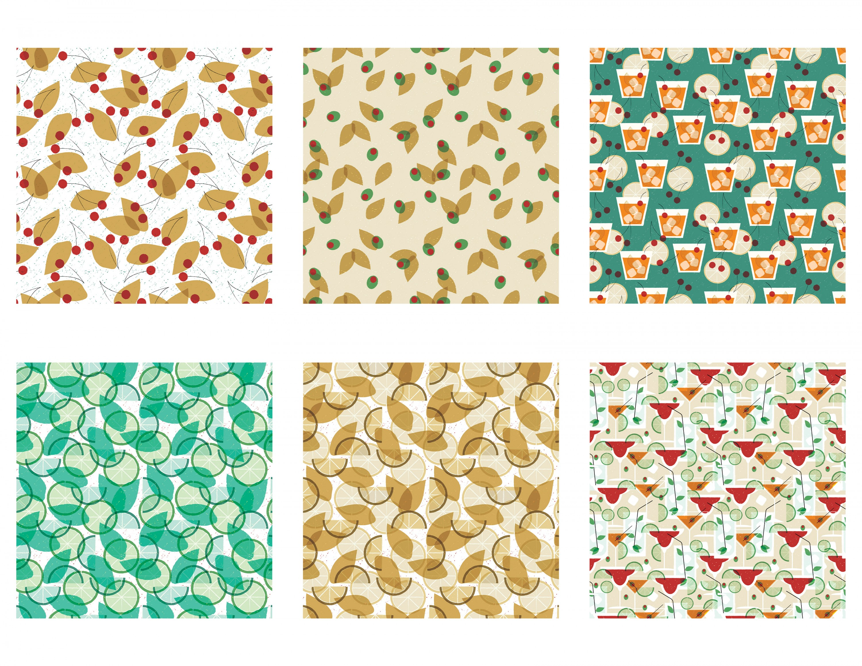 Pattern collection showing cocktail drinks.