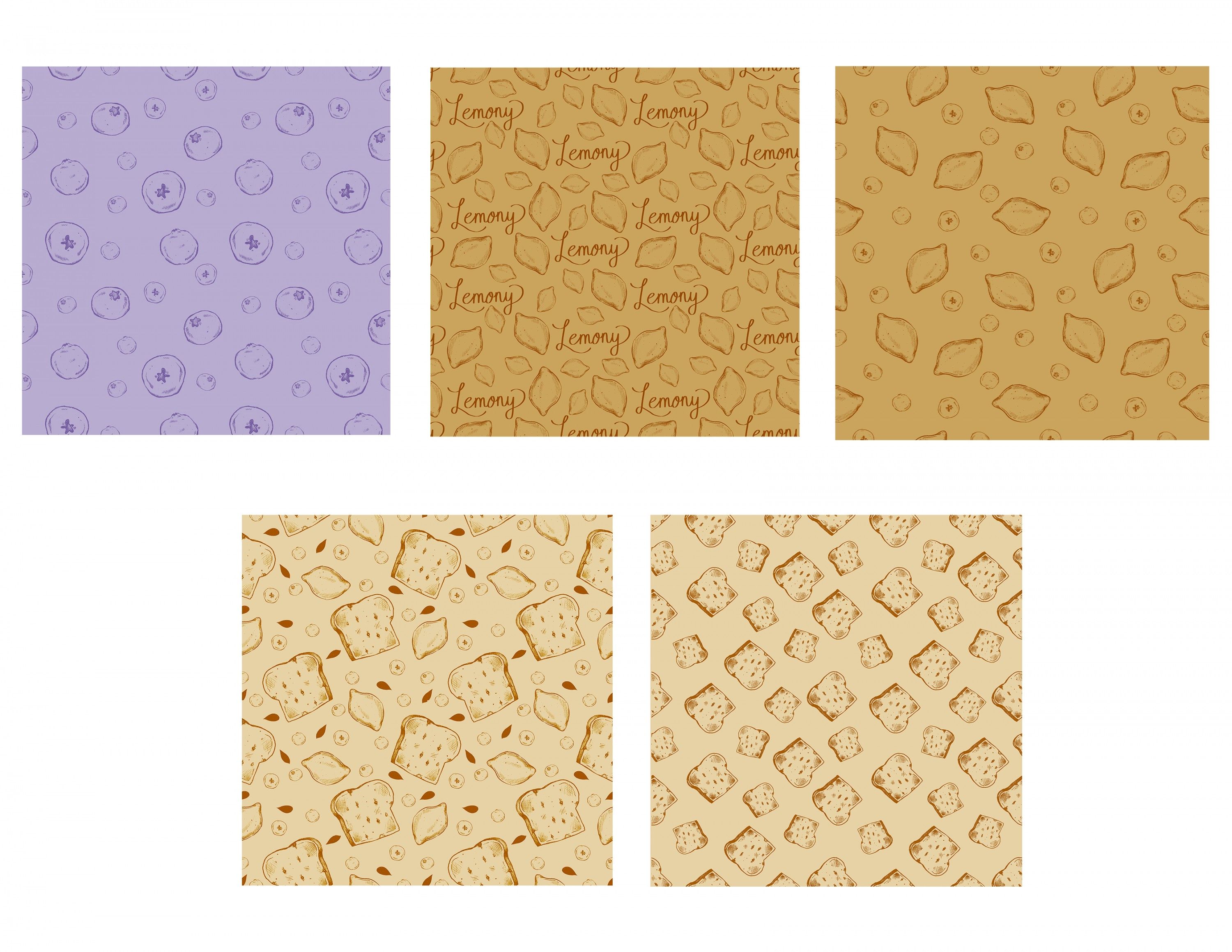 Pattern collection showing lemons, blueberries, and blueberry bread.
