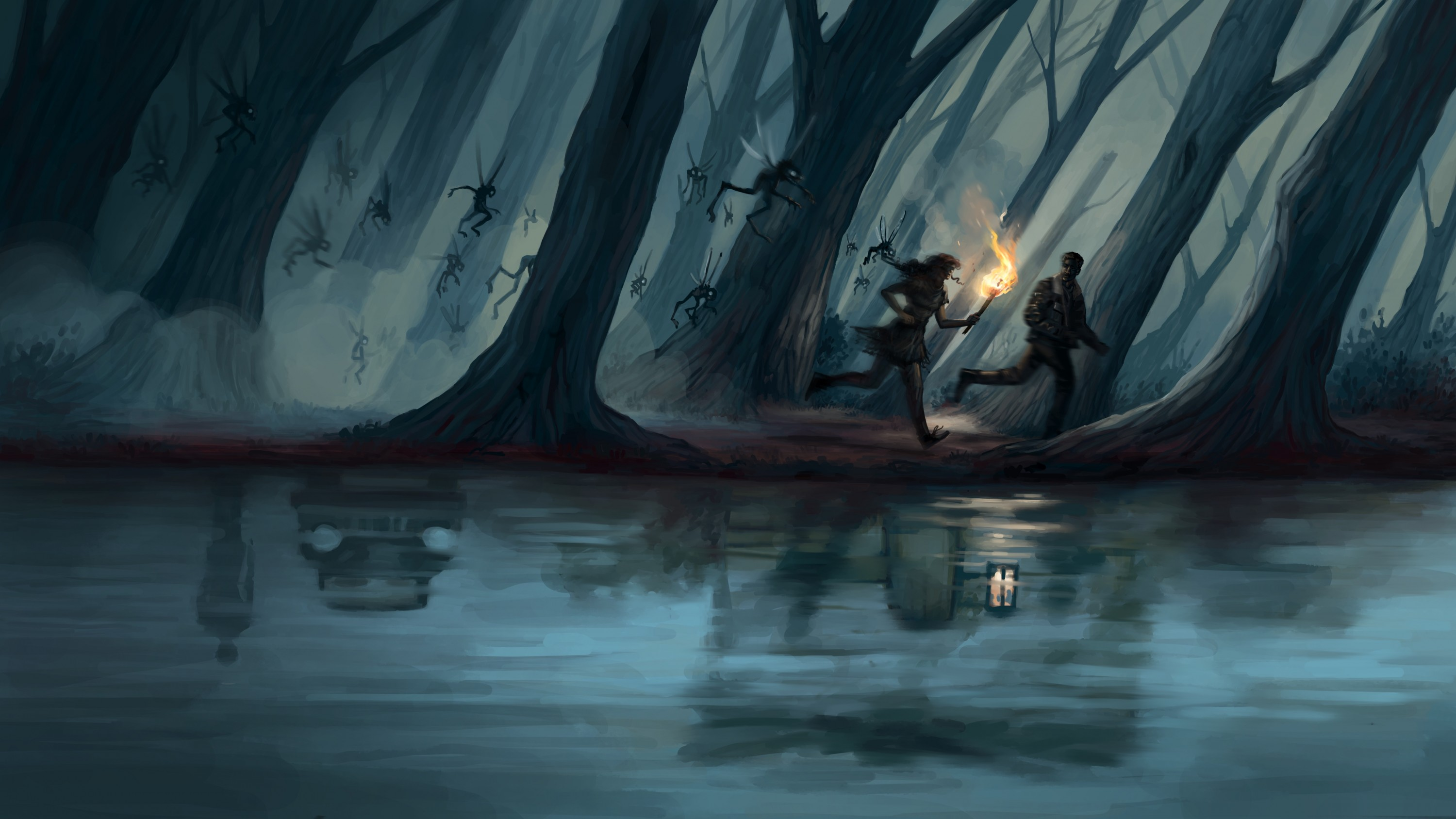 In this horizontal orientated image two silhouetted characters one man and one woman run through a dark, foggy forest with a torch in the hand of the email figure. They are being chased by flying evil pixie type creatures. In the water is a reflection of