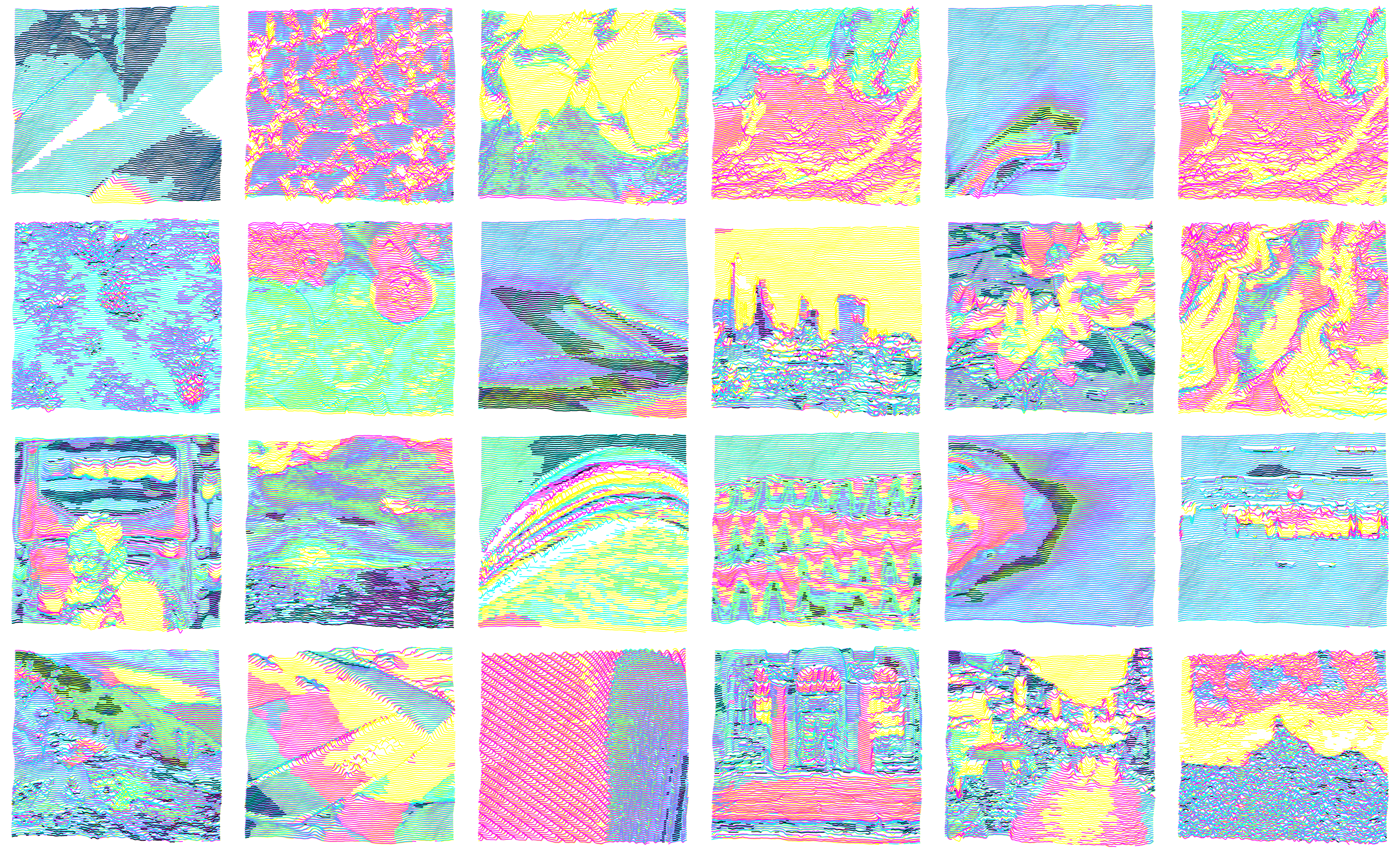 3 images of digital outputs from the plotmaker. They are very brightly colored and while they don't depict specific forms, they are chaotic and lovely.
