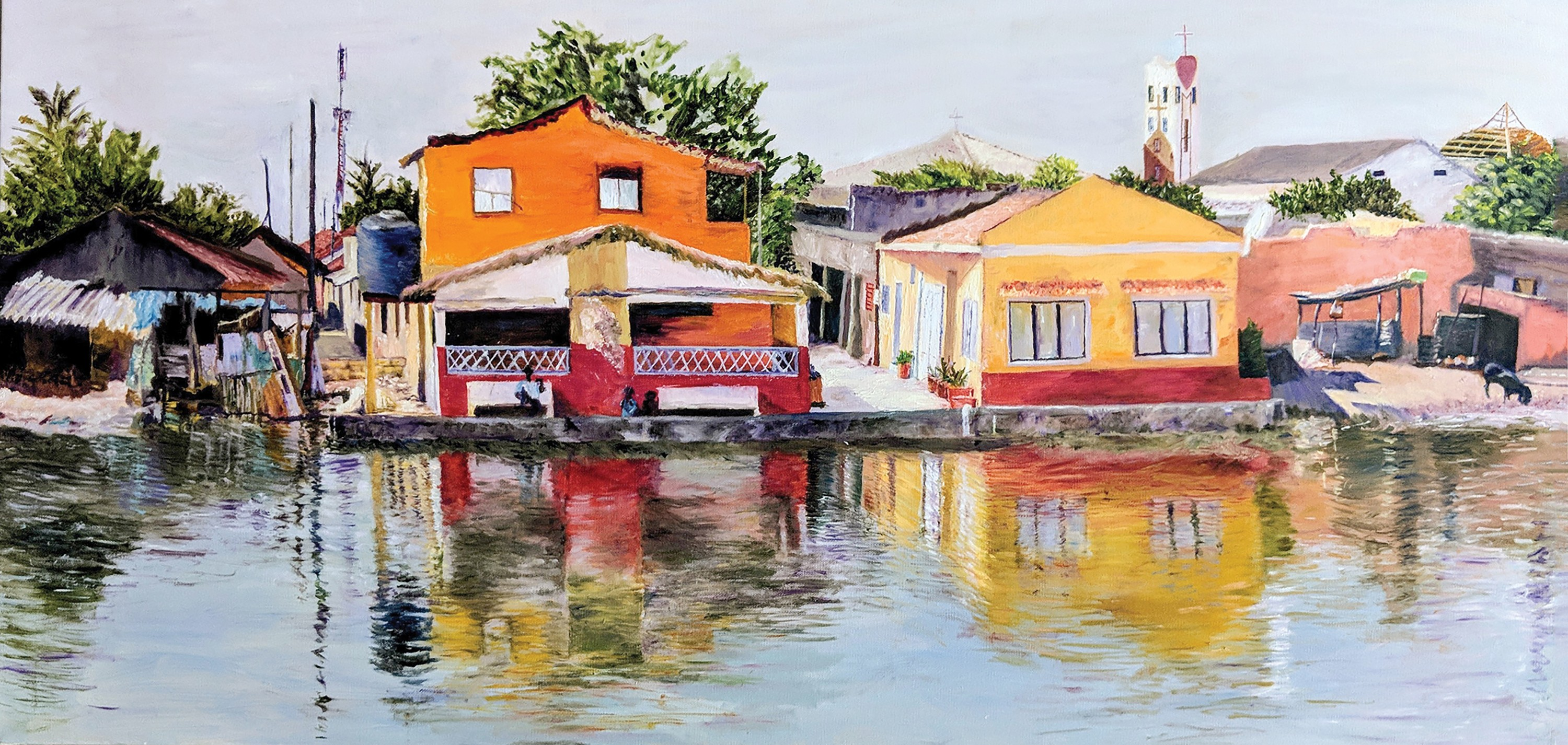 painting of homes on waterfront