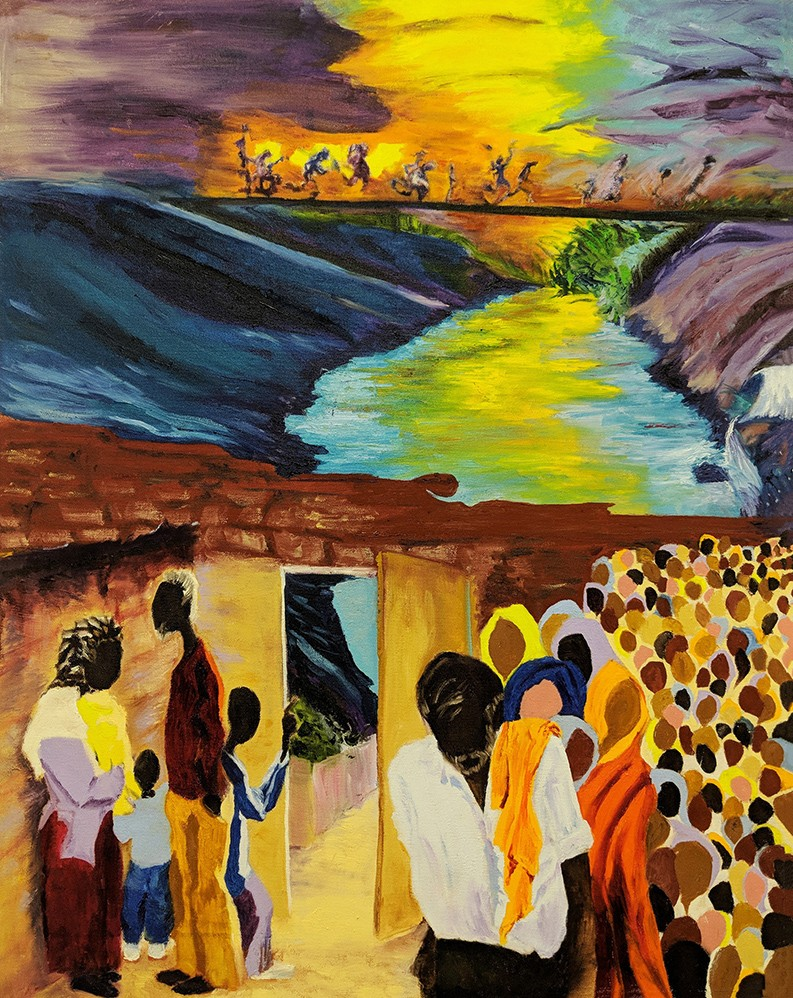 a painting of people gathered in a village near water