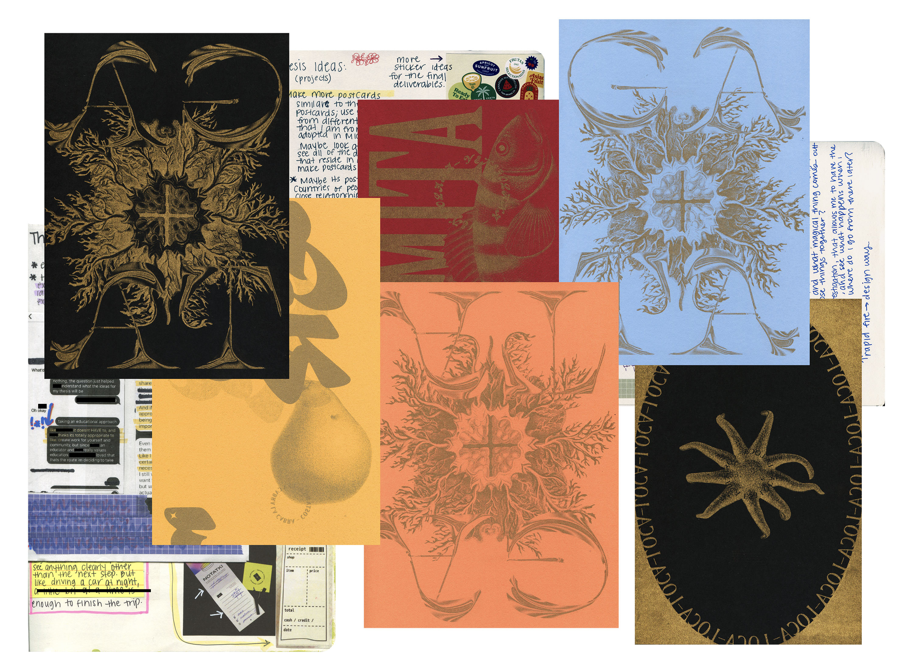 Digital collage of different risograph posters with abstracted words on top of abstract imagery, as well as small pieces of scans from a sketchbook showing written thoughts, and small peaks at conversations from conceptualizing the thesis ideas.