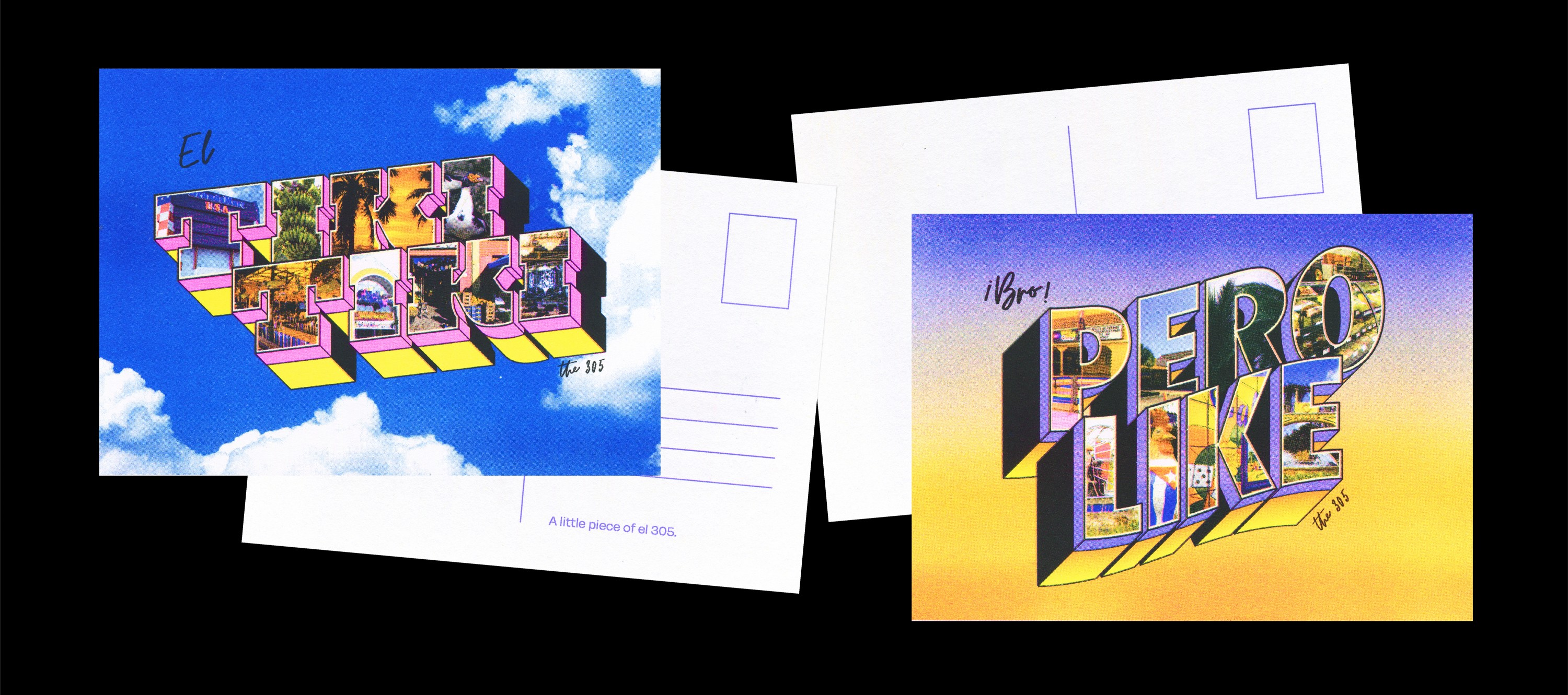 """2 postcards in the classic """"Greetings From"""" style, juxtaposed with the Miami phrases """"El Tiki Tiki"""" on the left postcard, and """"Bro Pero Like"""" on the right postcard. The """"Tiki Tiki"""" postcard has a background of a bright blue s"""