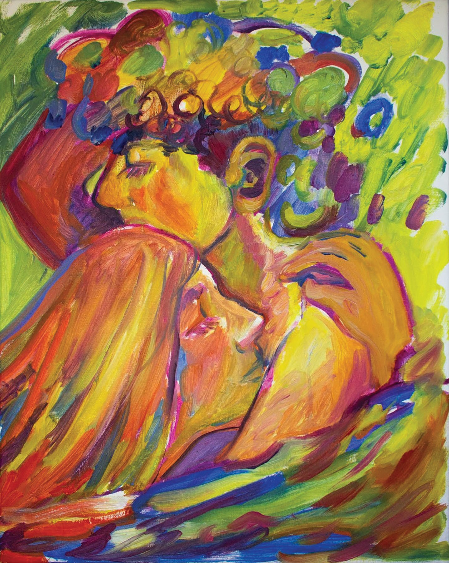 Oil painting of a couple embracing, and drifting off to sleep, enrobed in warm, yellow-green hues.