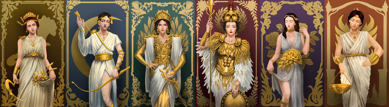 Illustrations of Six Greek Goddesses.
