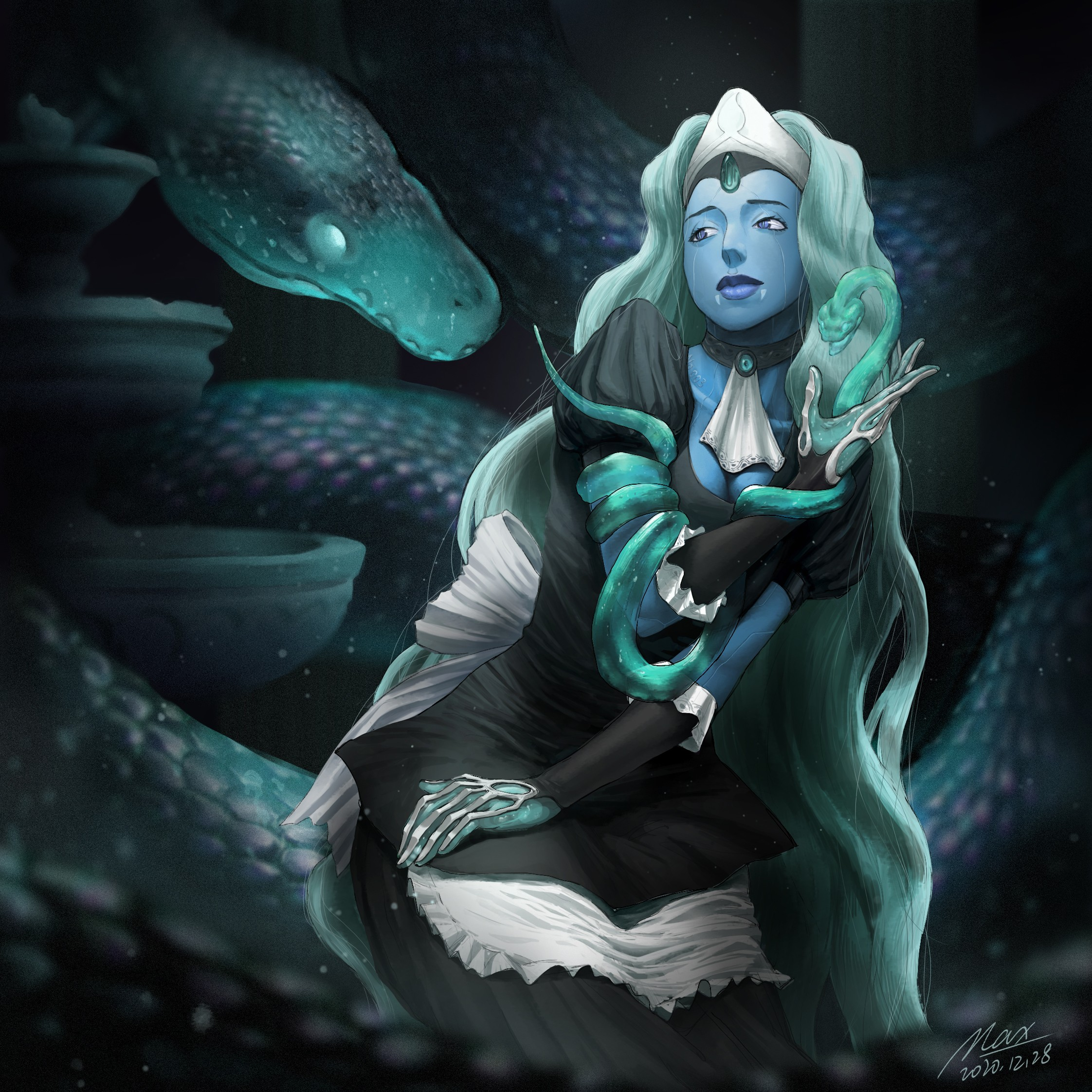 A battle maid with power of controlling water and shaping water into different snakes.