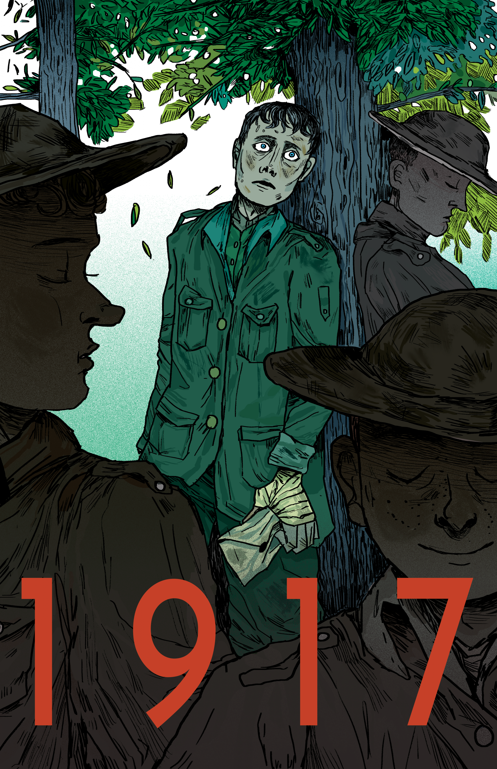 A soldier leans against a tree and stares at the reader with a haunted expression. Around him are other soldiers, looking off in different directions. They are shaded darker than the one against the tree.