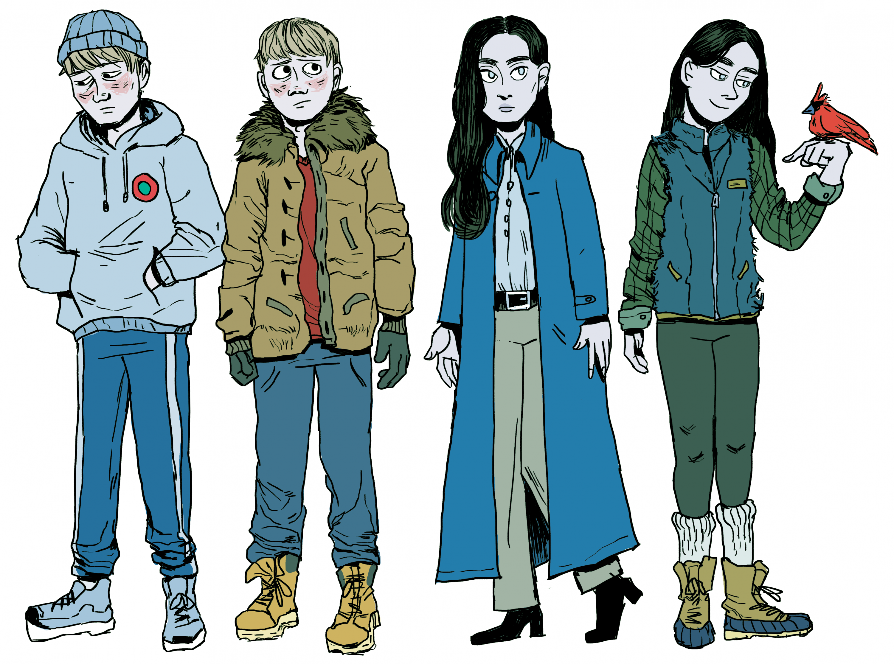 image 3: Kenny and Eva standing side by side in different outfits. Kenny's outfits: a grey hoodie and blue sweatpants with a grey hat, and a brown winter coat with brown fur trim and blue sweatpants with Timberland boots. Eva's outfits: A long blue coat w