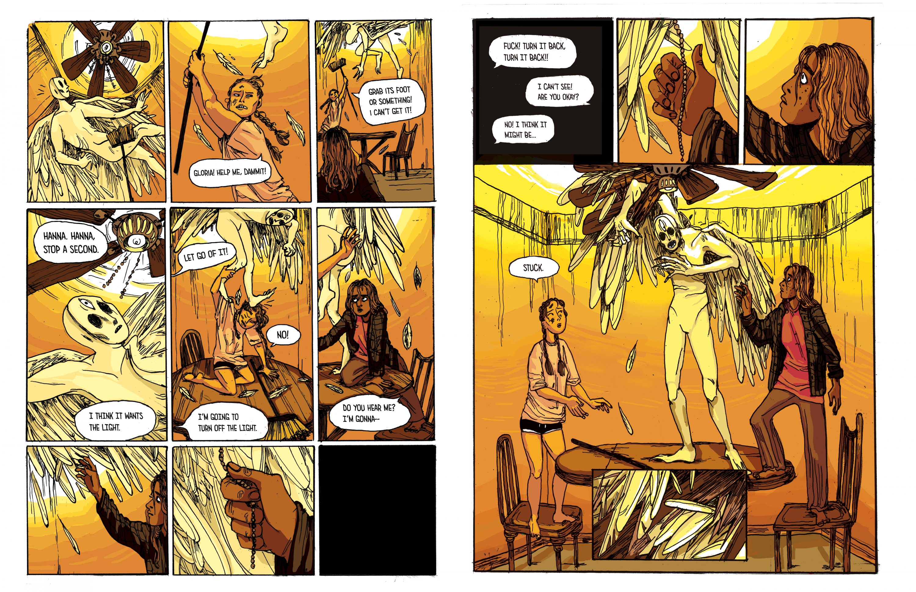 Four comic pages about two girls and an encounter with an angel. A girl with blond hair in braids named Hannah hears a strange knocking sound outside, and tells her friend Gloria, who has dark skin and blond hair. The angel breaks in through a window and