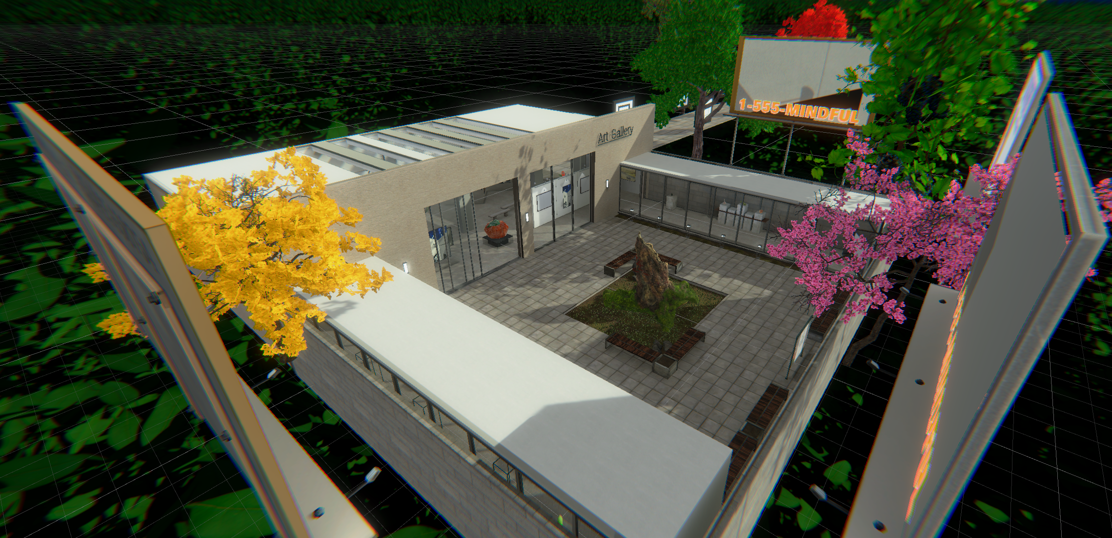 A birds-eye-view of the VR art gallery space. Some billboards and trees surround it.
