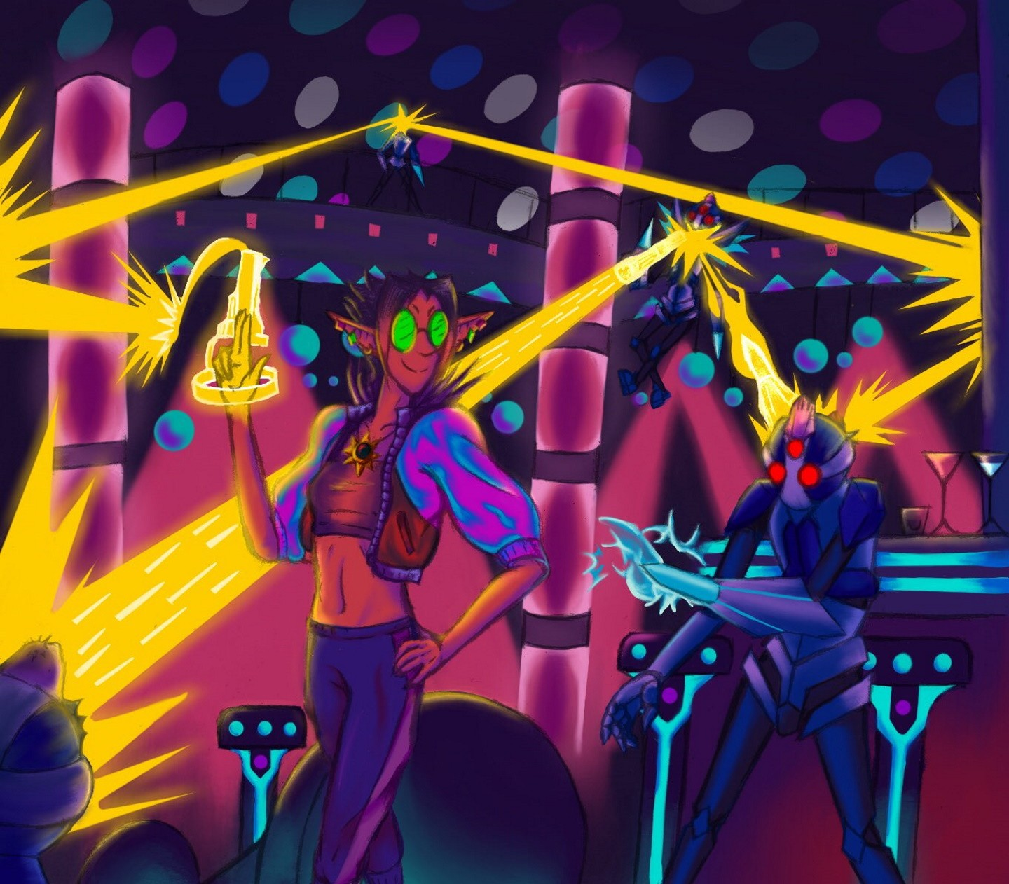 An elf woman in a cyber-club reaching its closing hours uses her gold laser fingers to deal with intruding security units in casual style, surrounded by lights of varying pinks, purples and cyans.
