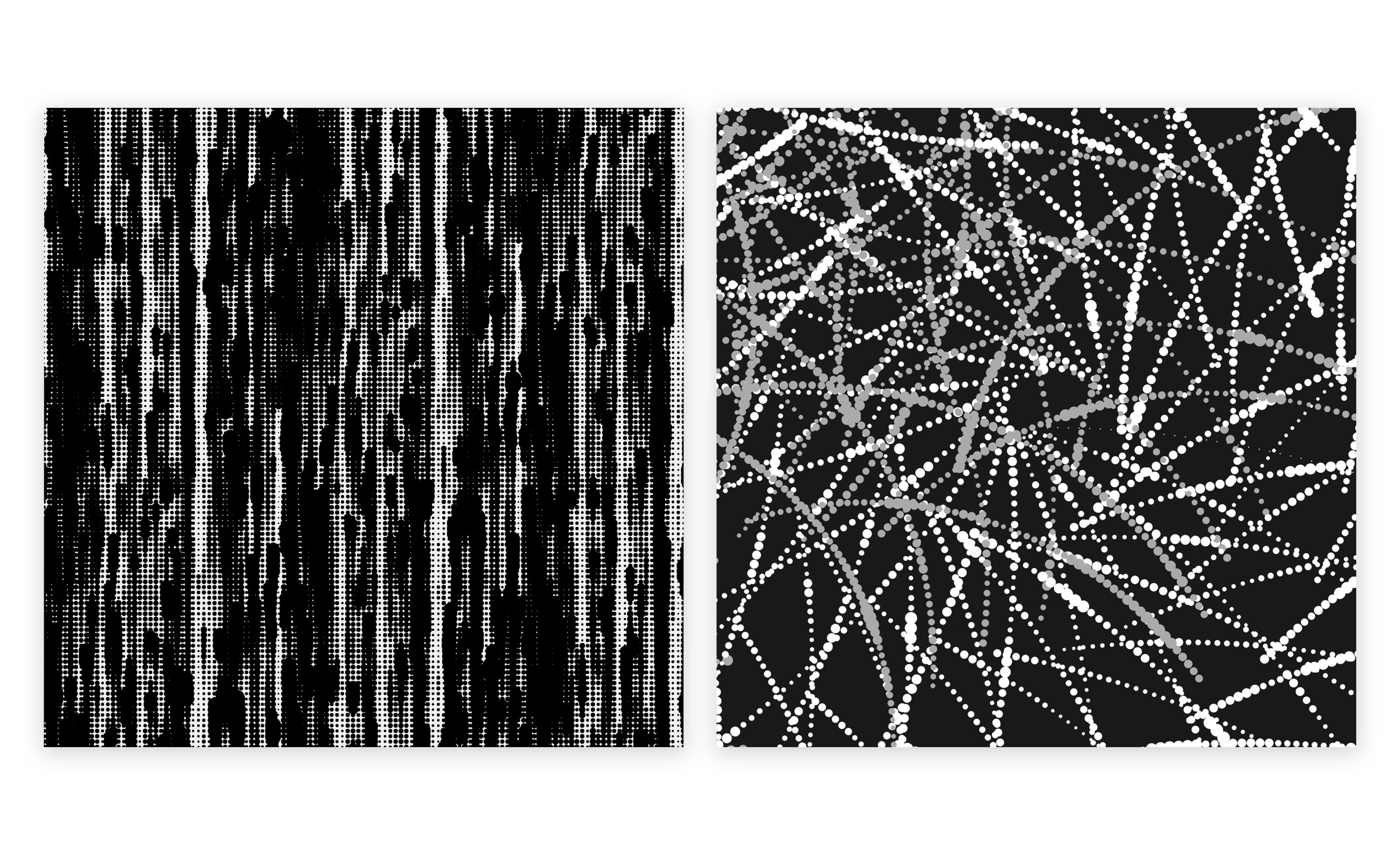 The left image is a series of circles varying in size moving vertically across the canvas. The right image is a series of layered spiraling circle patterns that are varying in size.