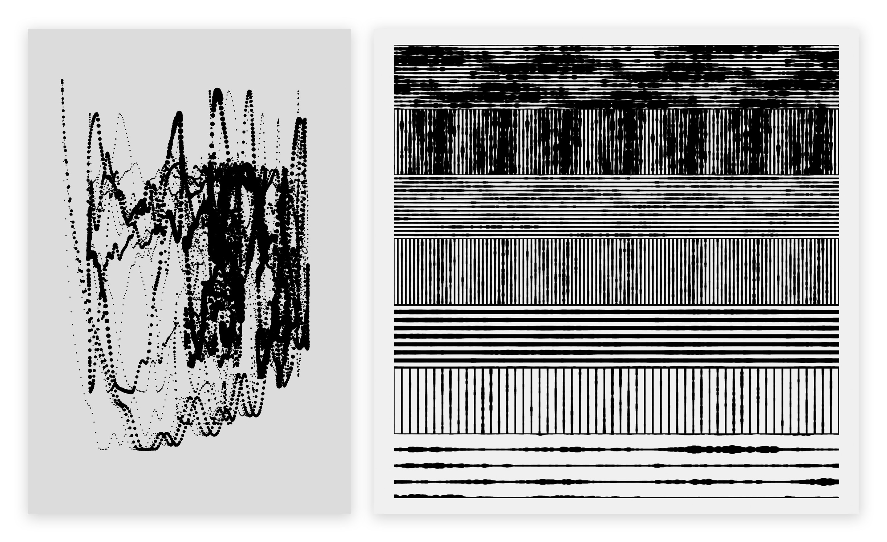 Left image is a series of spattering strings of circles layered overtop one another. Right image is a gridded pattern of lines and circles that change size based on sound amplitude as they move across the canvas.