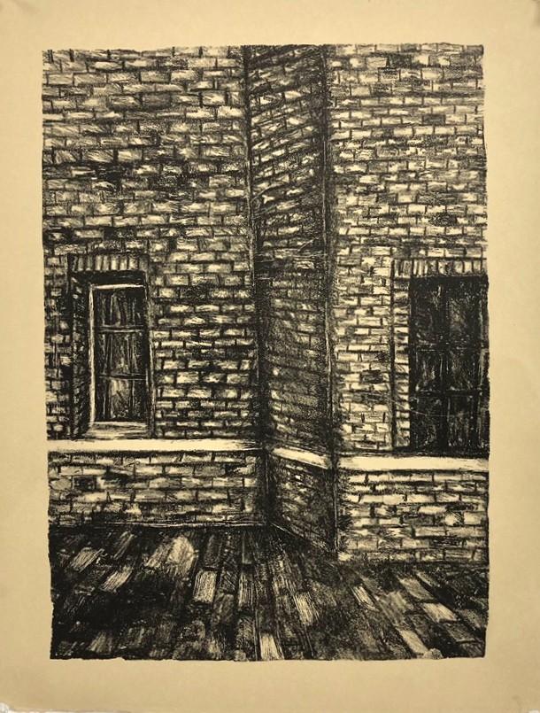 Brick Corner. Stone lithograph