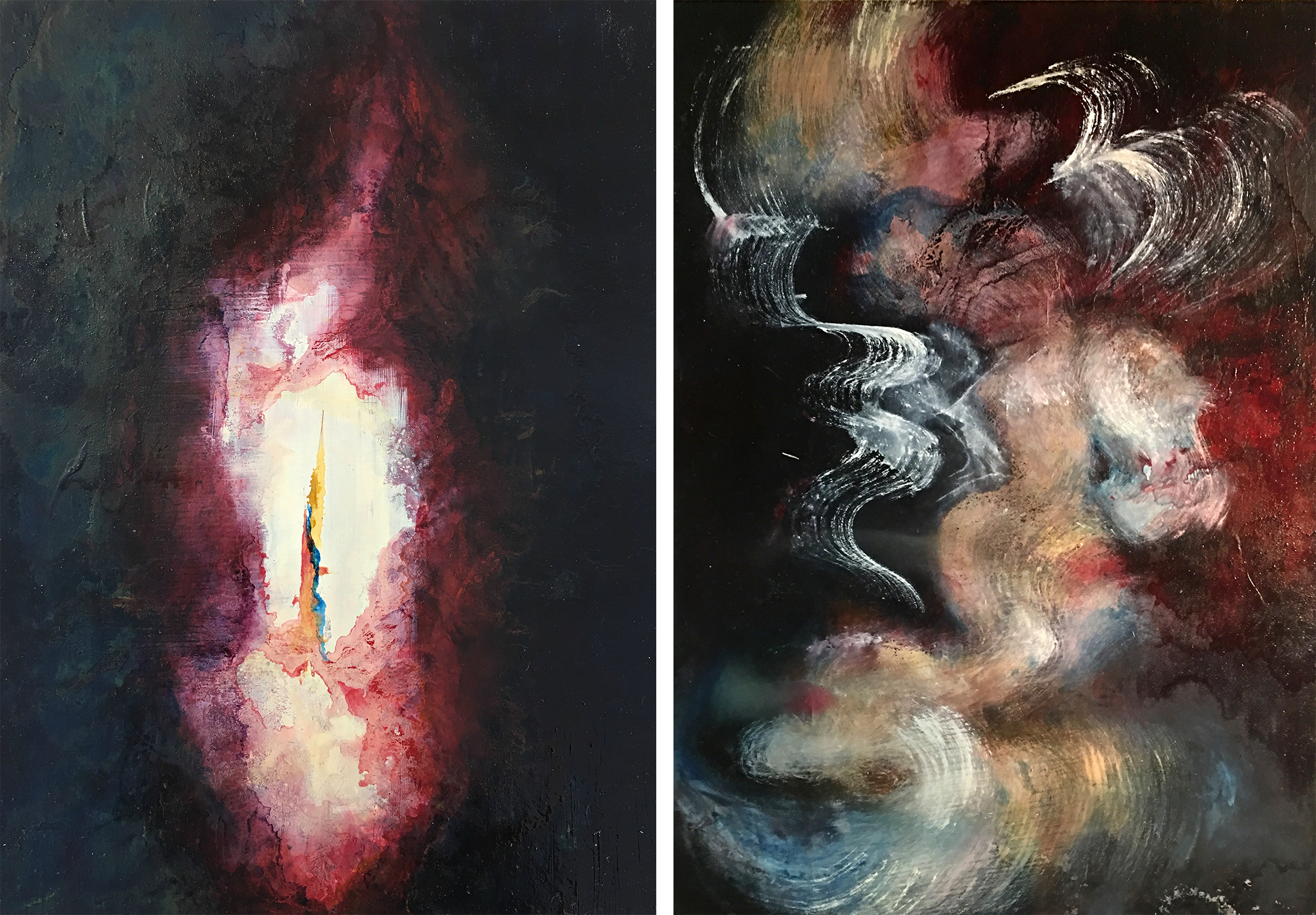 This is a set of two abstract oil paintings.