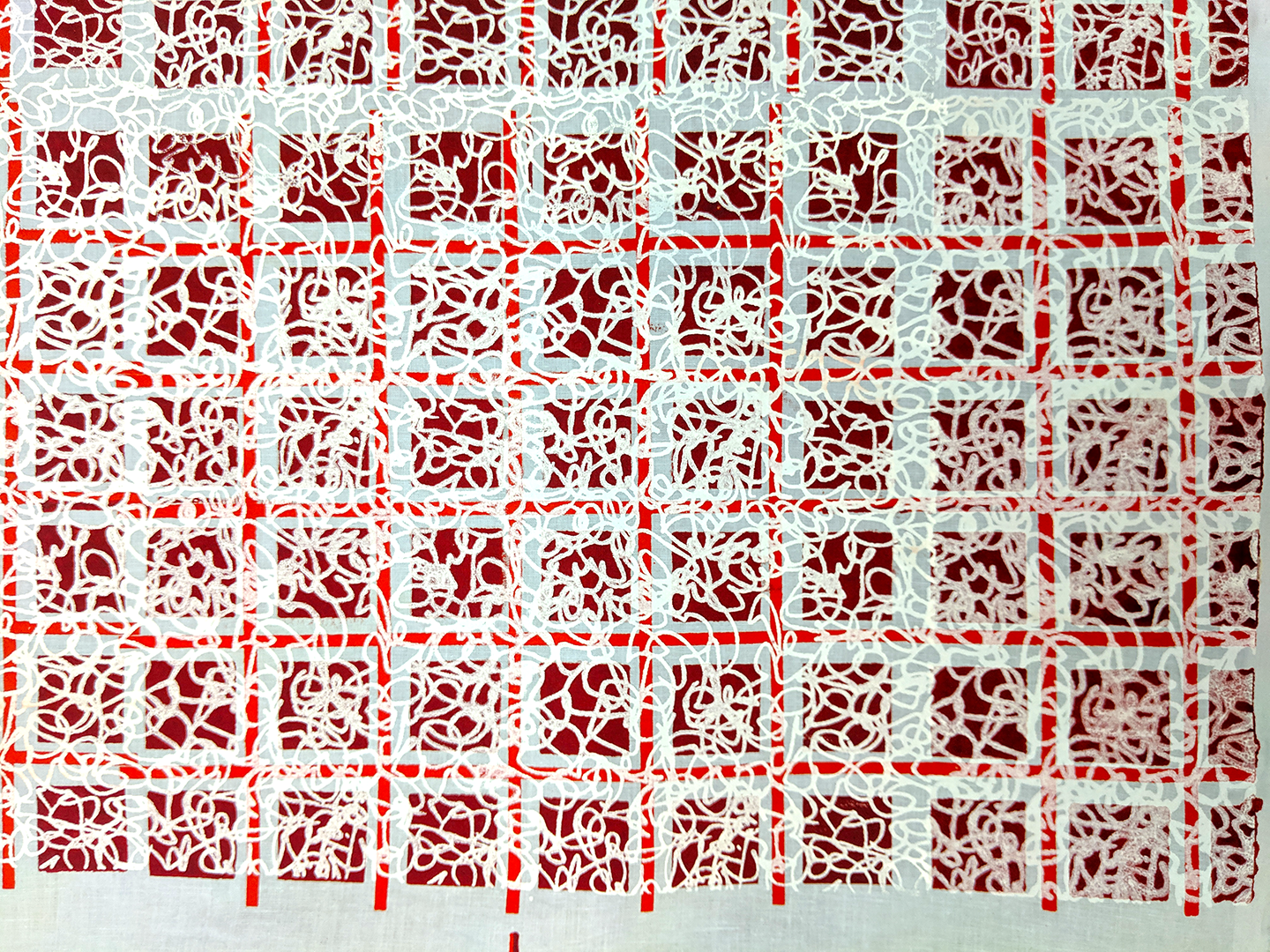This is a twelve foot by four foot run of blue cotton fabric silkscreened with a red and white grid print.