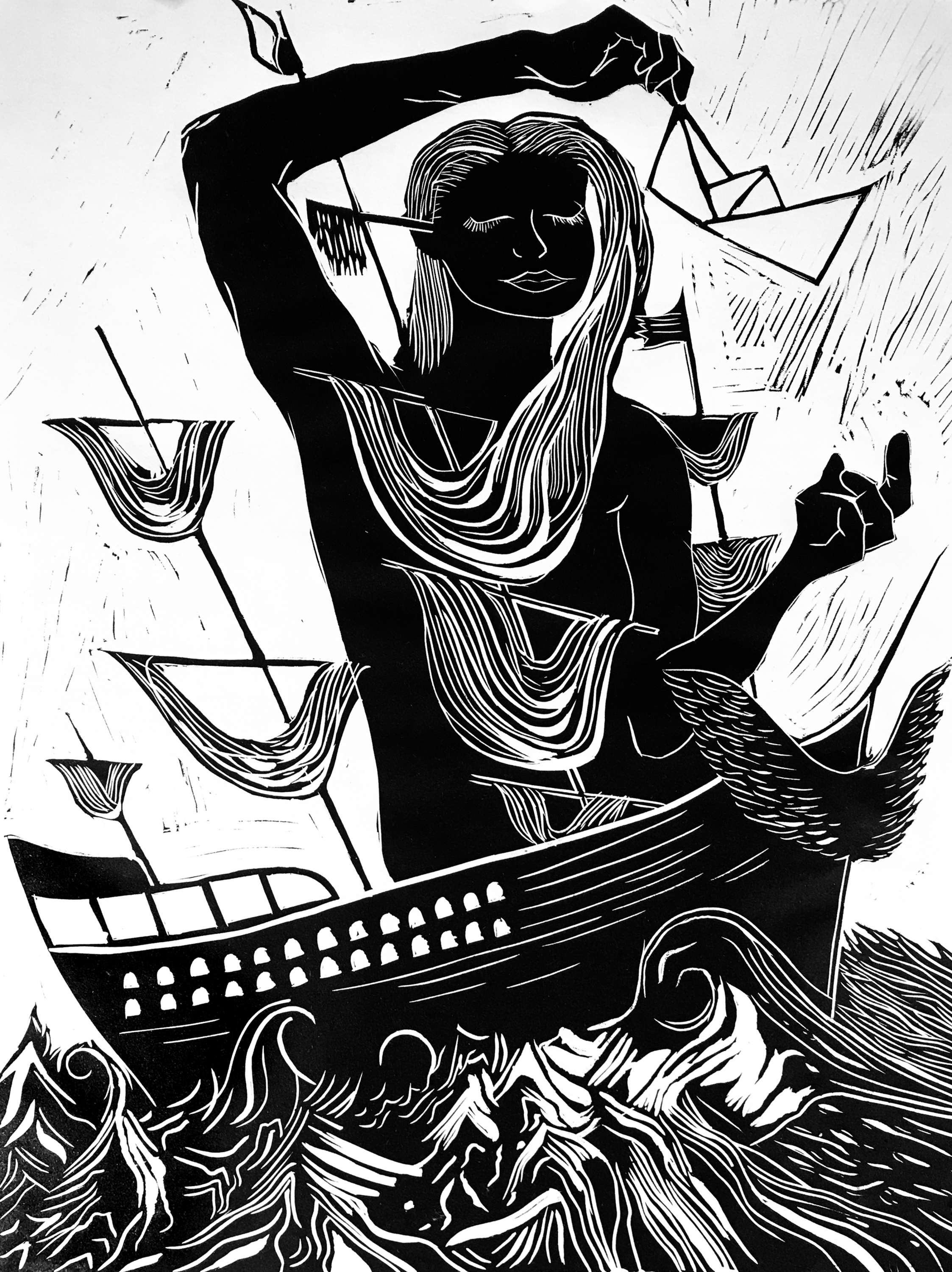 This is a linocut print of a woman on a boat.