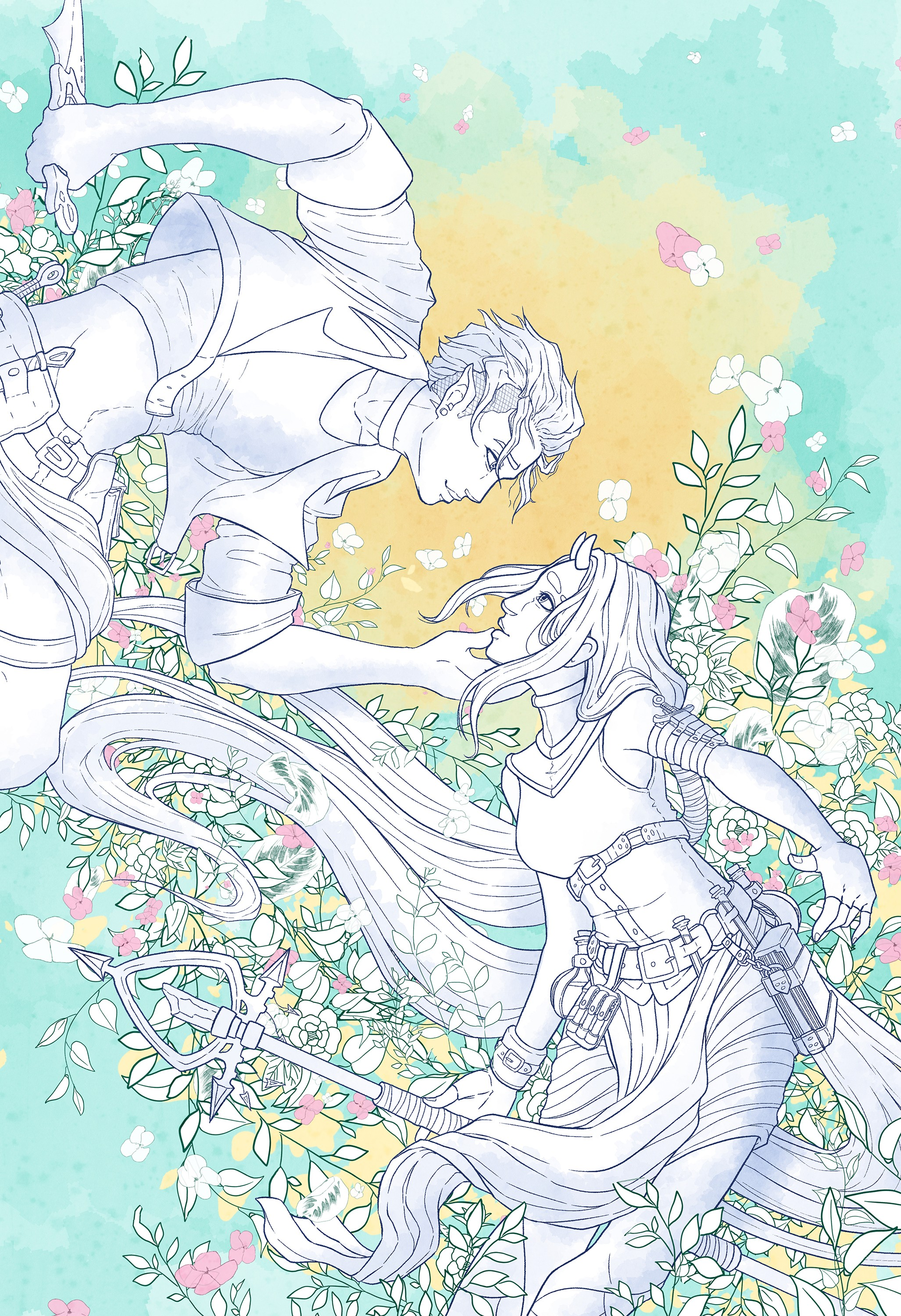 Elf boy gently caressing the face of a demon girl. They are surrounded by by plants. Illustration.