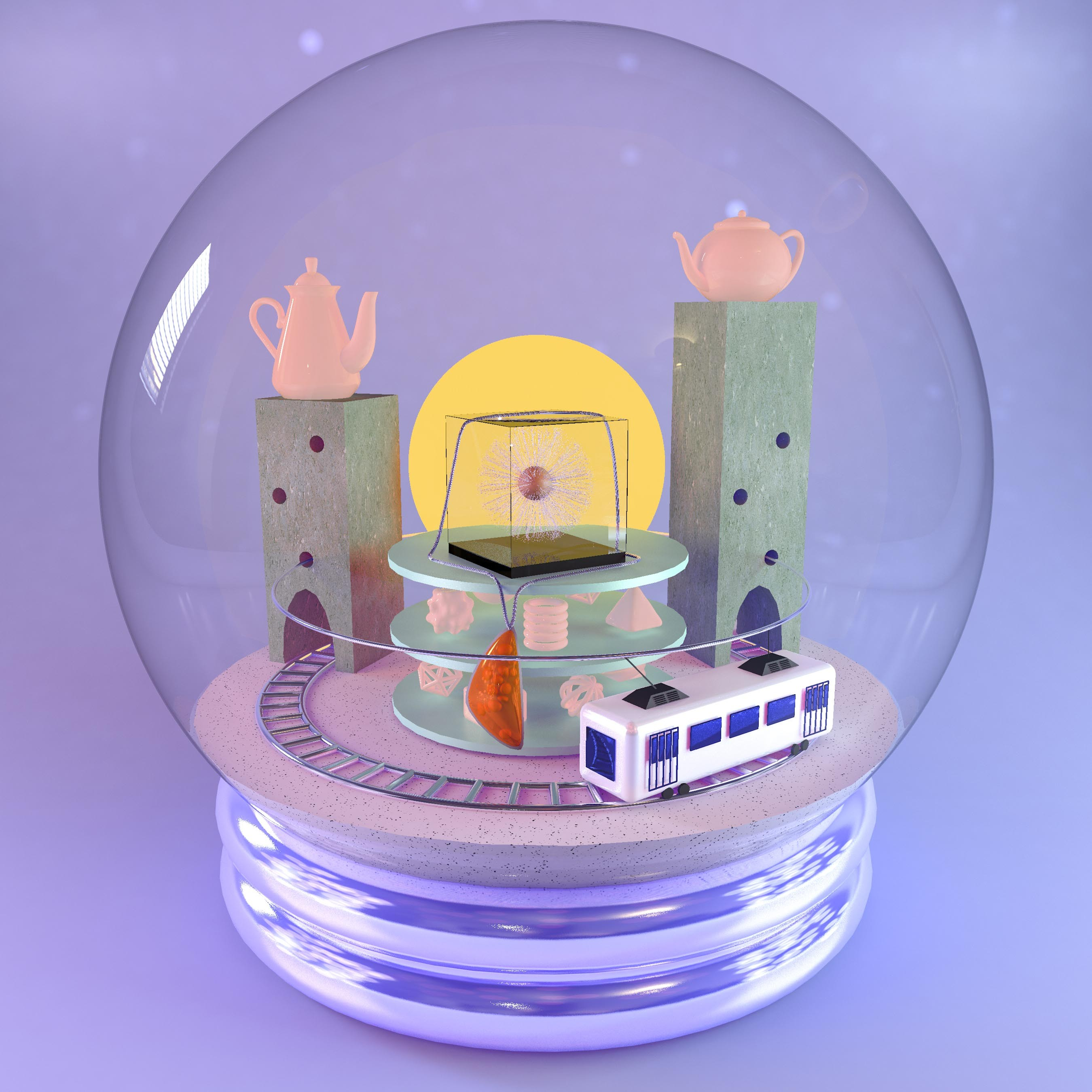 Digital render of a snow globe depicting a necklace and a flower paperweight, among other supporting objects
