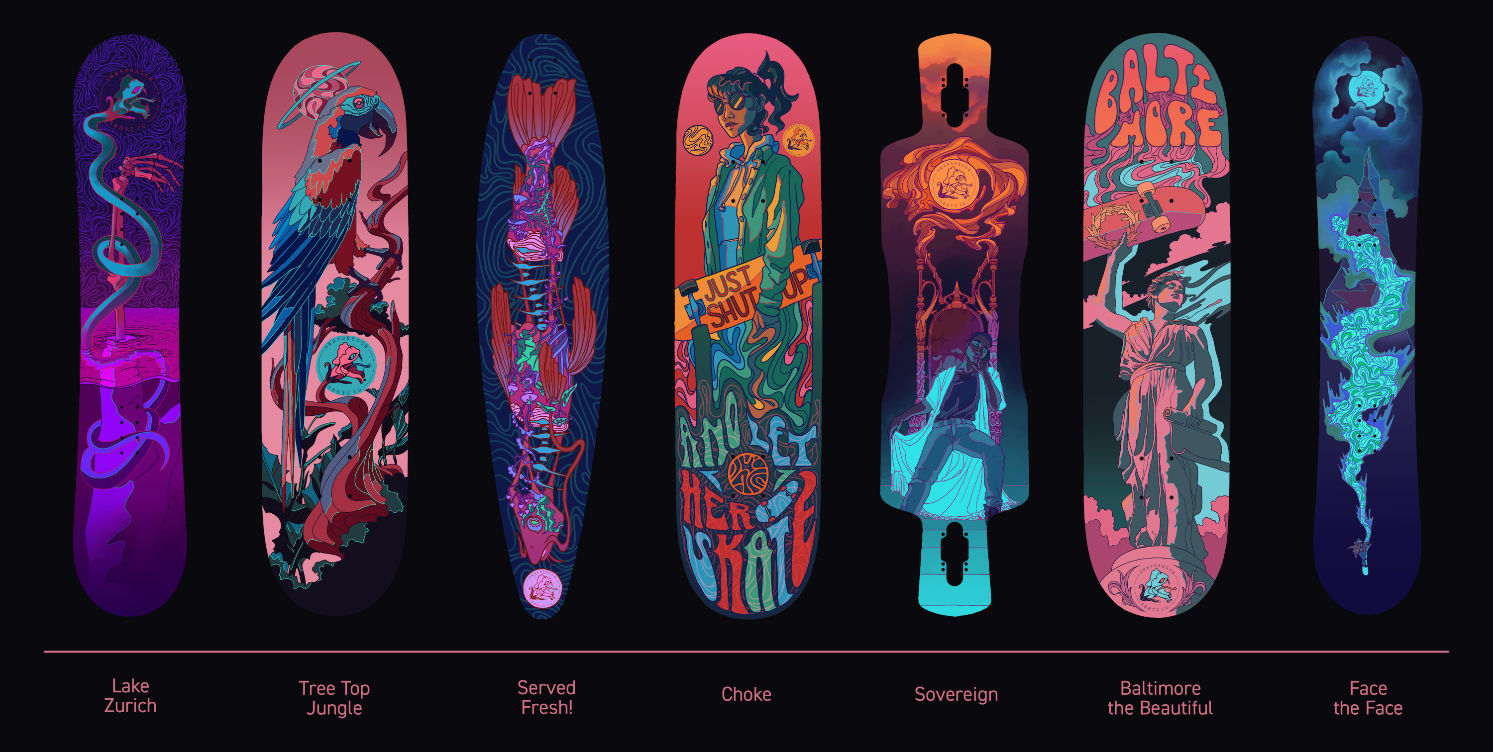 """A series of seven boards is pictured. The first board is a snowboard titled """"Lake Zurich"""", it features an arm submerged in purple lake water. The portion of the arm that is sticking out of the water is merely the bones of the arm with no flesh o"""