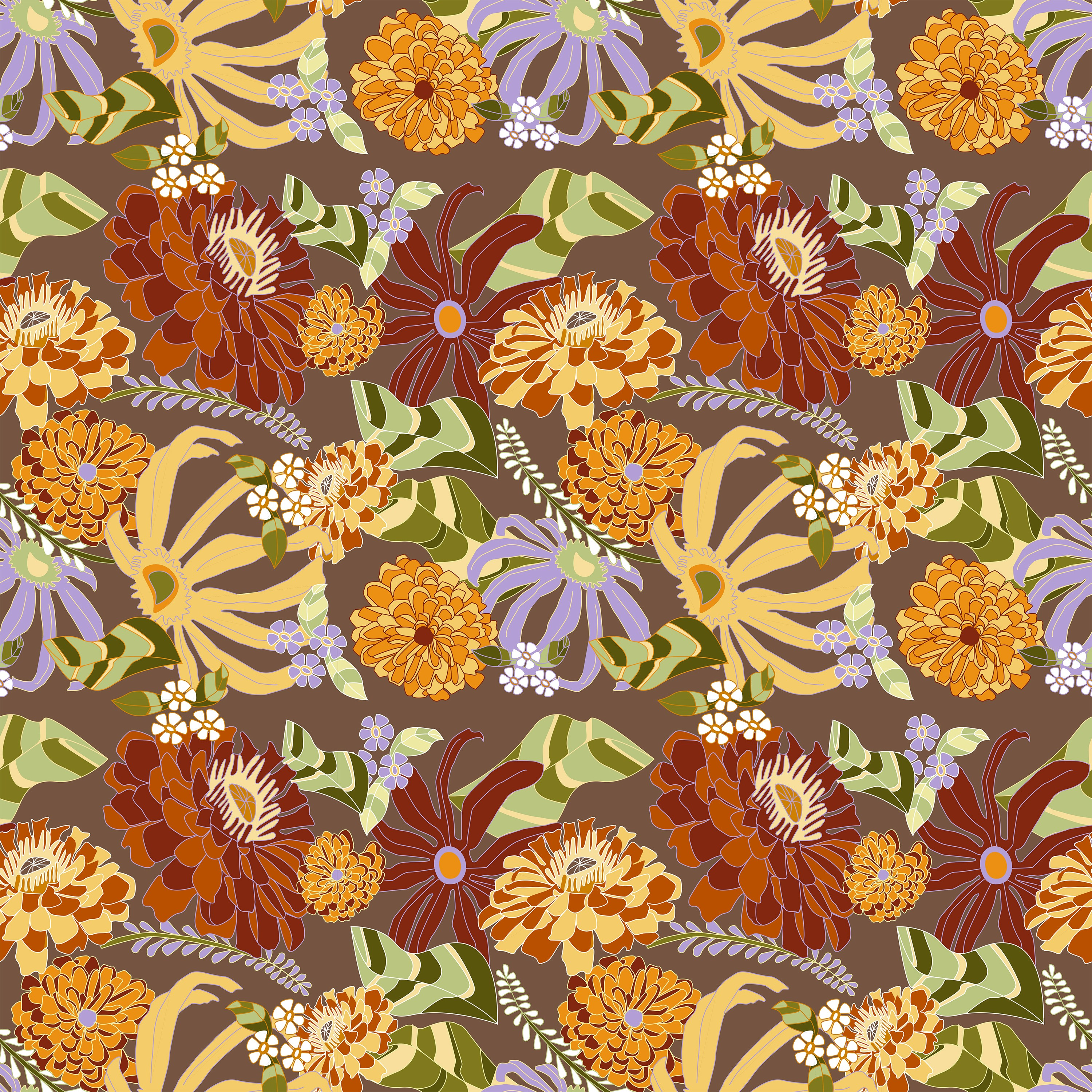 For this surface pattern design I drew inspiration from 60's and 70's floral patterns and my love of gardening. This pattern was created to be applied to gardening supplies, specifically an apron in this case. The pattern has warm earthy tones such as war