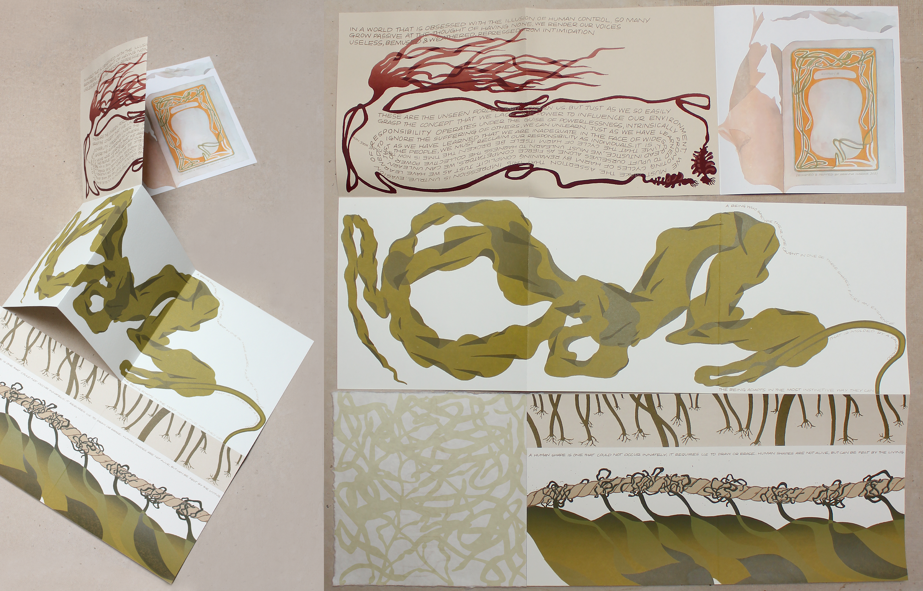 This piece is a maze style book made up of nine square pages. The layout progresses from the bottom left corner to the right and snakes upwards to form an 'S' shape. The pages depict various configurations of marine kelp, assisted with text.