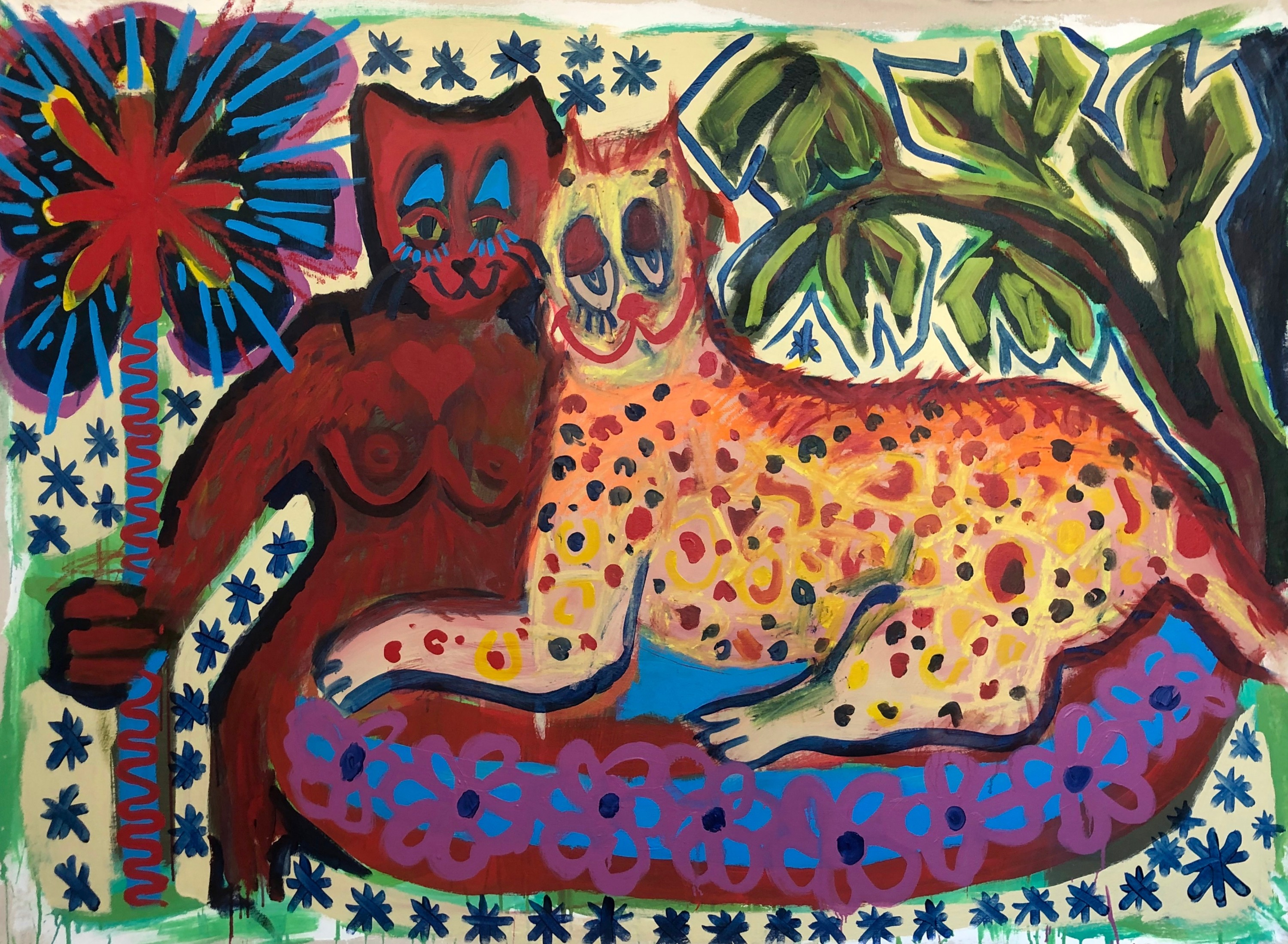 """A horizontal 48"""" x 72"""" painting depicts two cartoon like cats. The left, yellow and leopard print cat lounged on a bright floral carpet, is being embraced by the right cat. The right cat holds a star wand. Small stars are painted in the backgrou"""