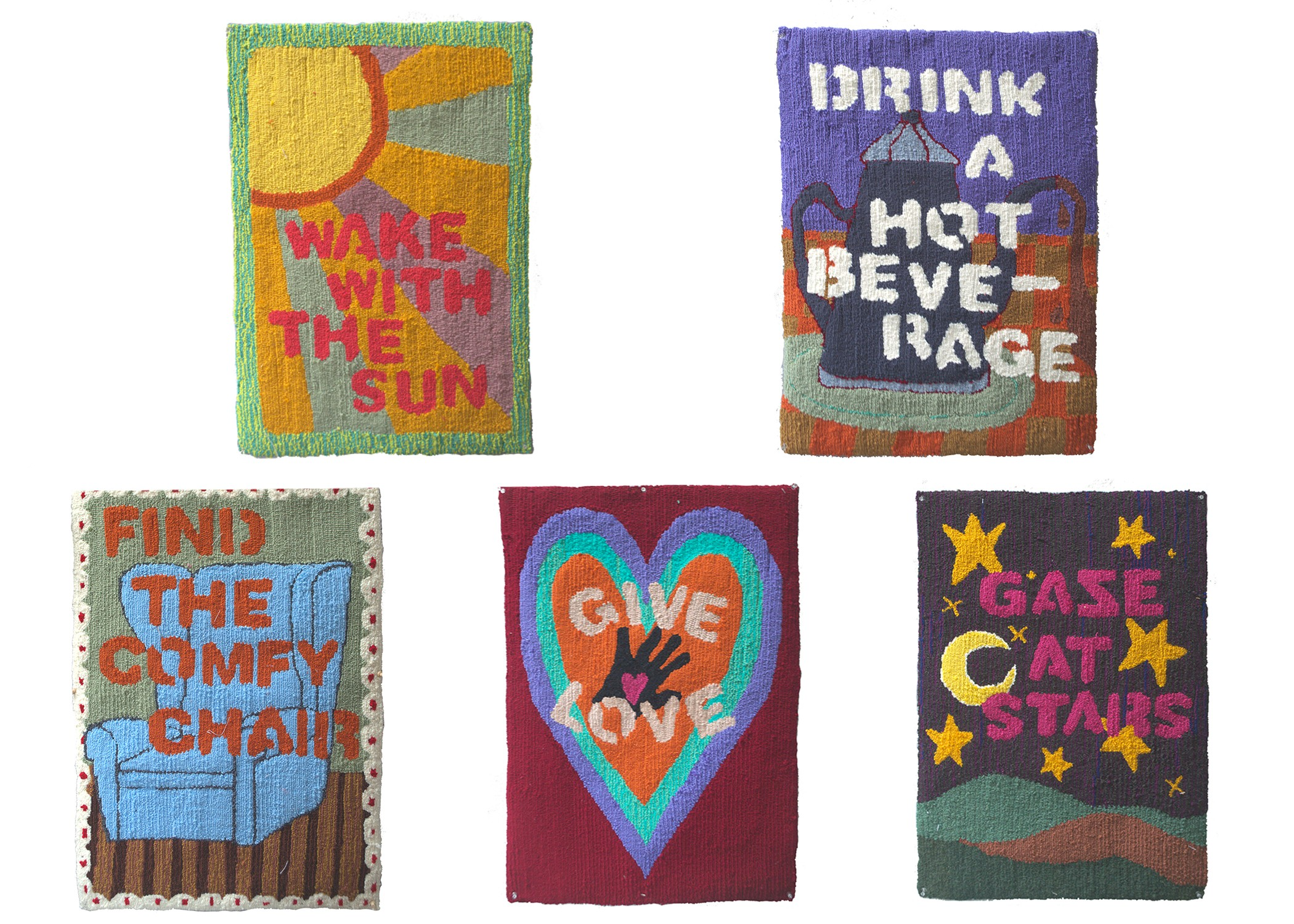 """Five loop pile rugs shown against a white background. Each rug, in simple font, tells viewers to """"wake with the sun,"""" """"drink a hot beverage,"""" """"find the comfy chair,"""" """"give love,"""" or """"gaze at stars."""""""