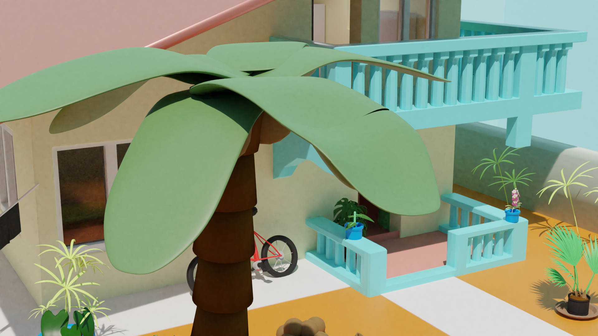 Another shot of the front of the house from above, with a coconut tree as the main focus of the scene.