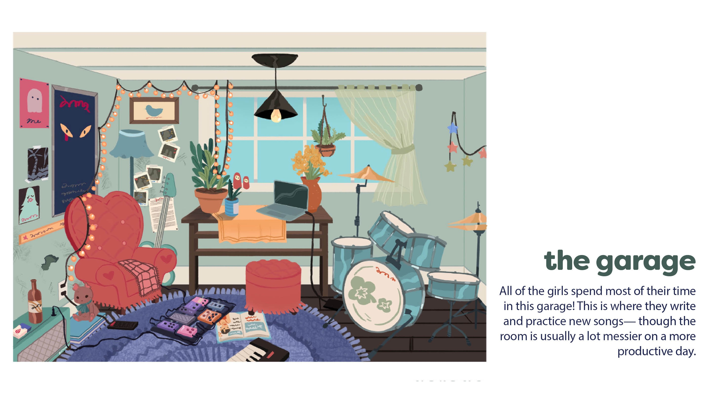 A digital illustration of a small garage space with a window in the middle of the back wall. Various instruments and personal items are strewn across the room with Rob's drums occupying most of the space on the right side of the illustration.  Text is dis
