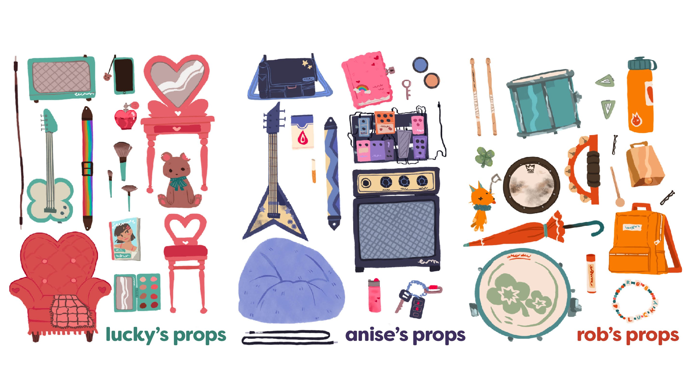Three separate illustrations of various props for each band member. Lucky's props are on the left and feature cute themed objects like heart shaped furniture, a teddy bear, and makeup products. Most importantly, a bass guitar with a clover shaped body is