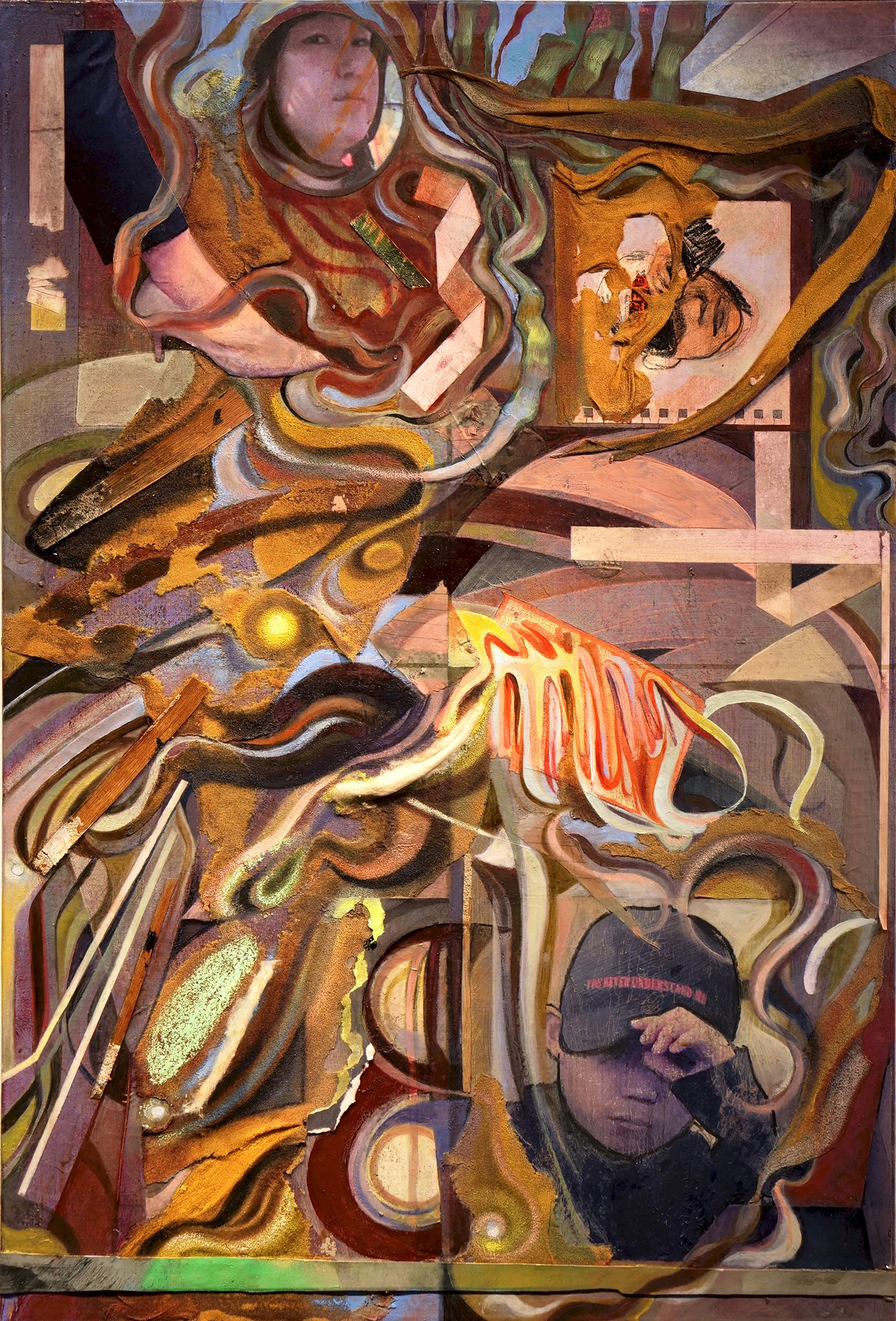 Various pictures (a womans high heeled leg, a womans reflections in a mirror, a young boy wearing a baseball cap) are joined together by lots of abstract shapes and tendrils