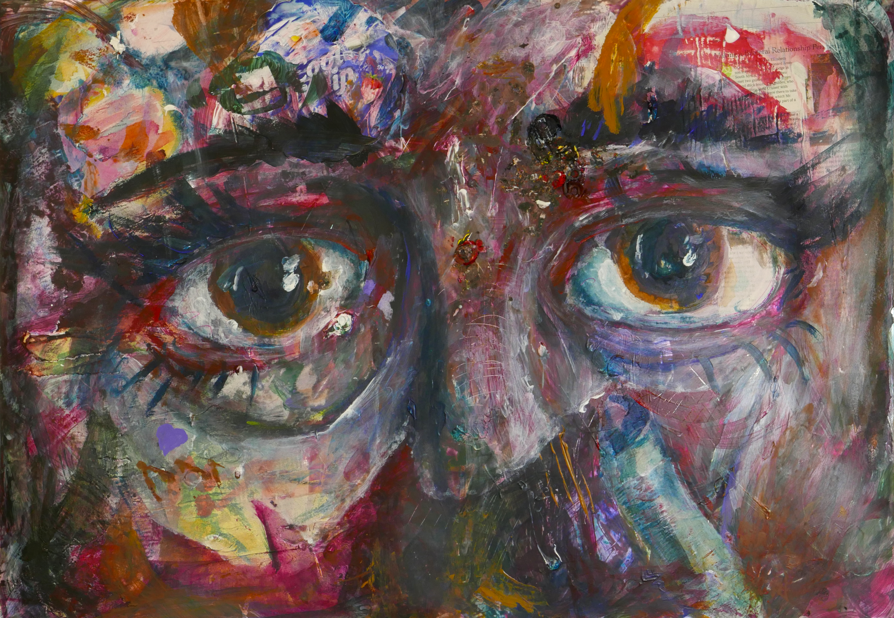 A colorful and textured abstract painting with a large pair of eyes.
