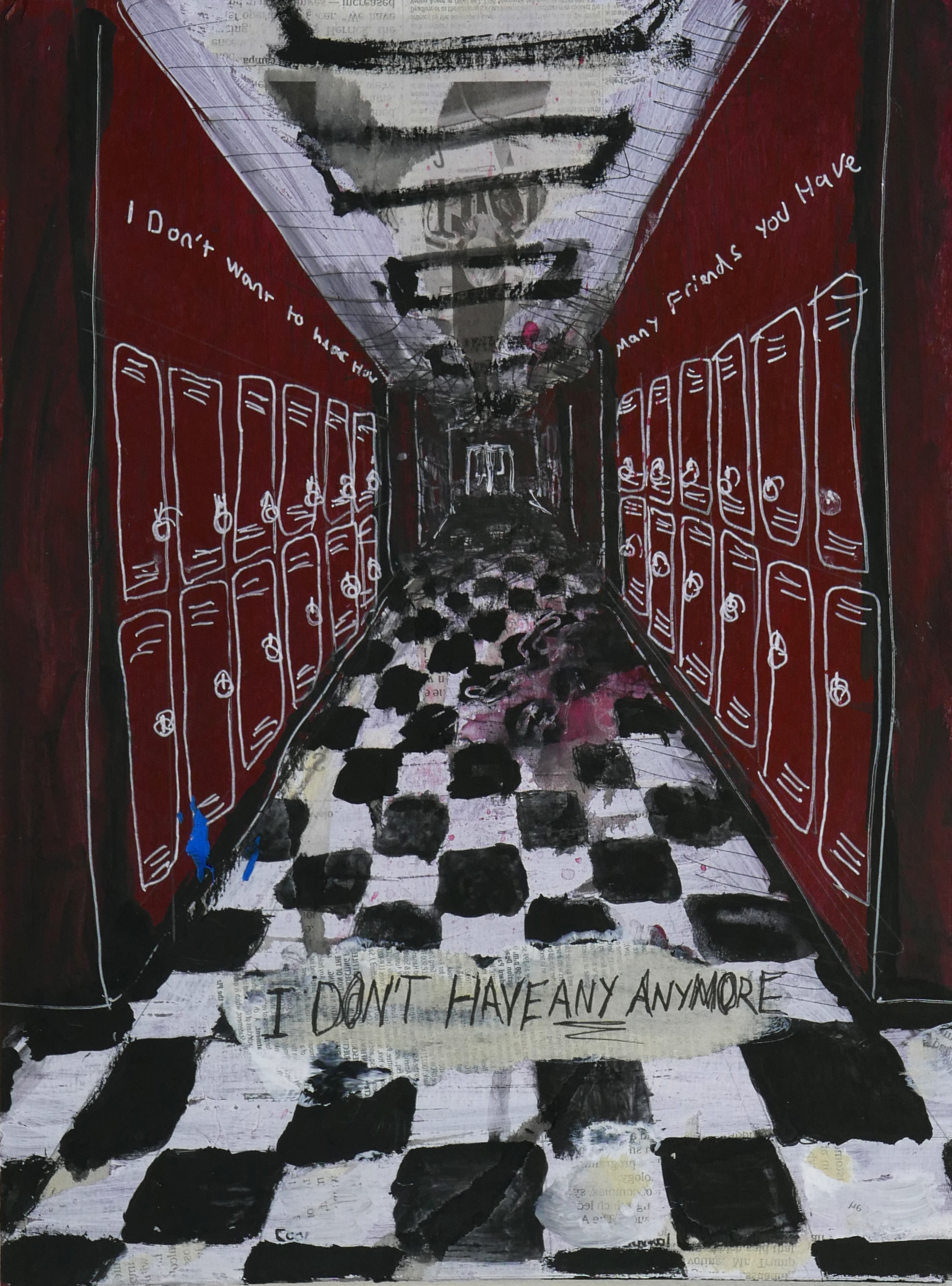 """A dark school hallway with checkered floors, possibly haunted. Song lyrics are written on the walls """"I don't want to hear how many friends you have. I don't have any anymore!"""""""