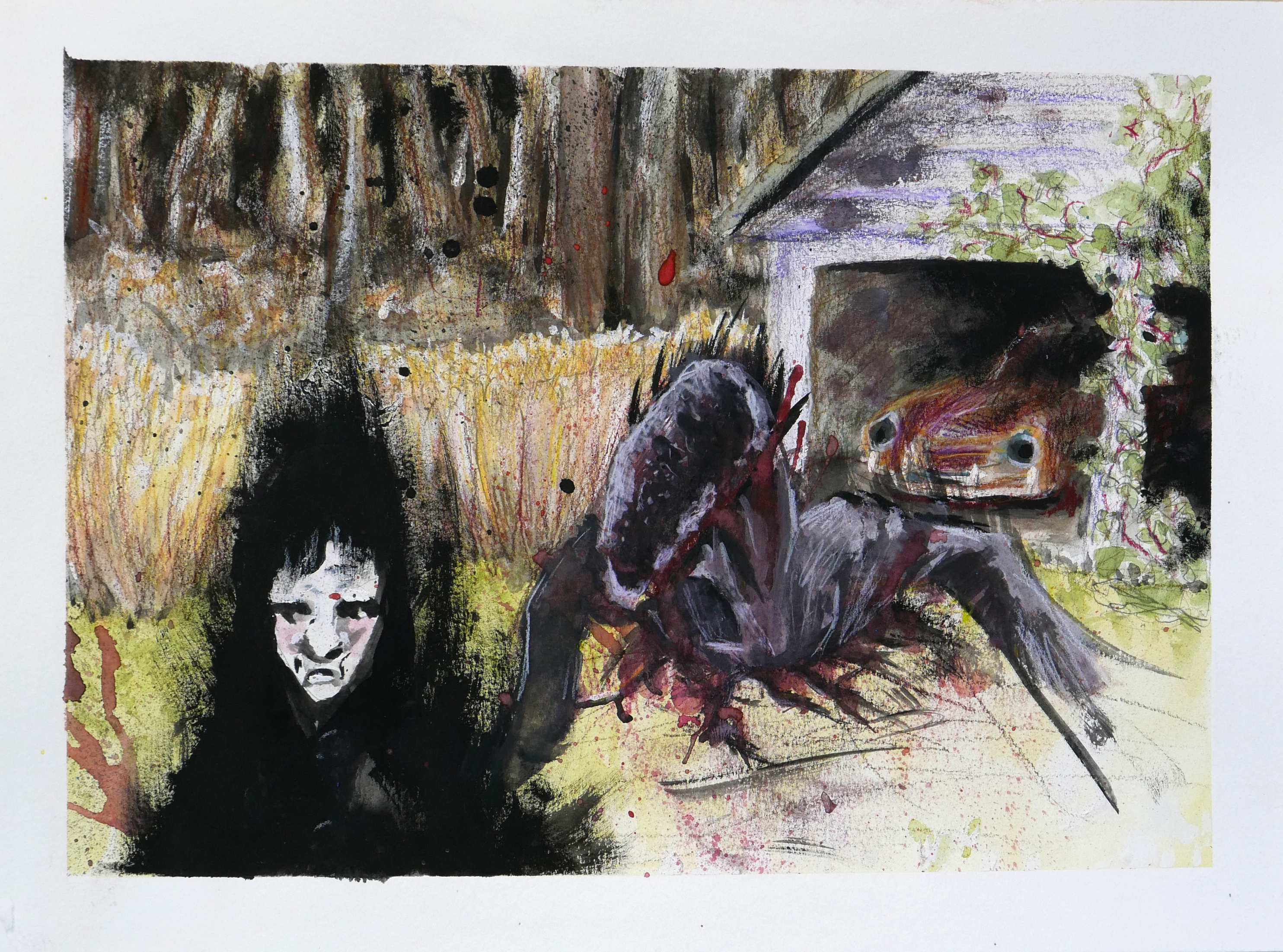 At a garage on the edge of the forest, a hooded figure is standing.  Something without a face appears from the ground behind them.