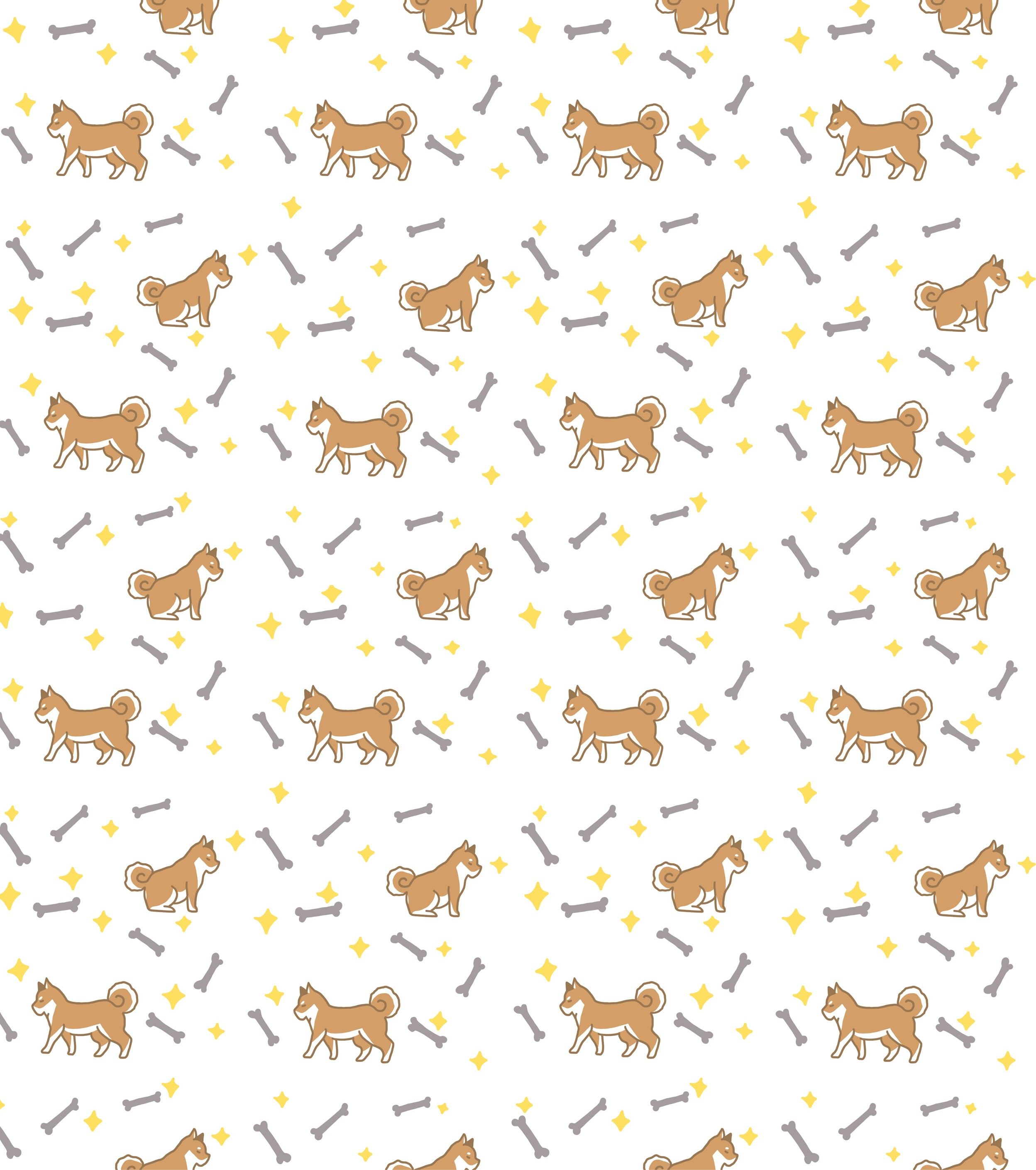 This is a Shiba Inu pattern design, have yellow Shiba Inu and grey bones and yellow stars with in it.