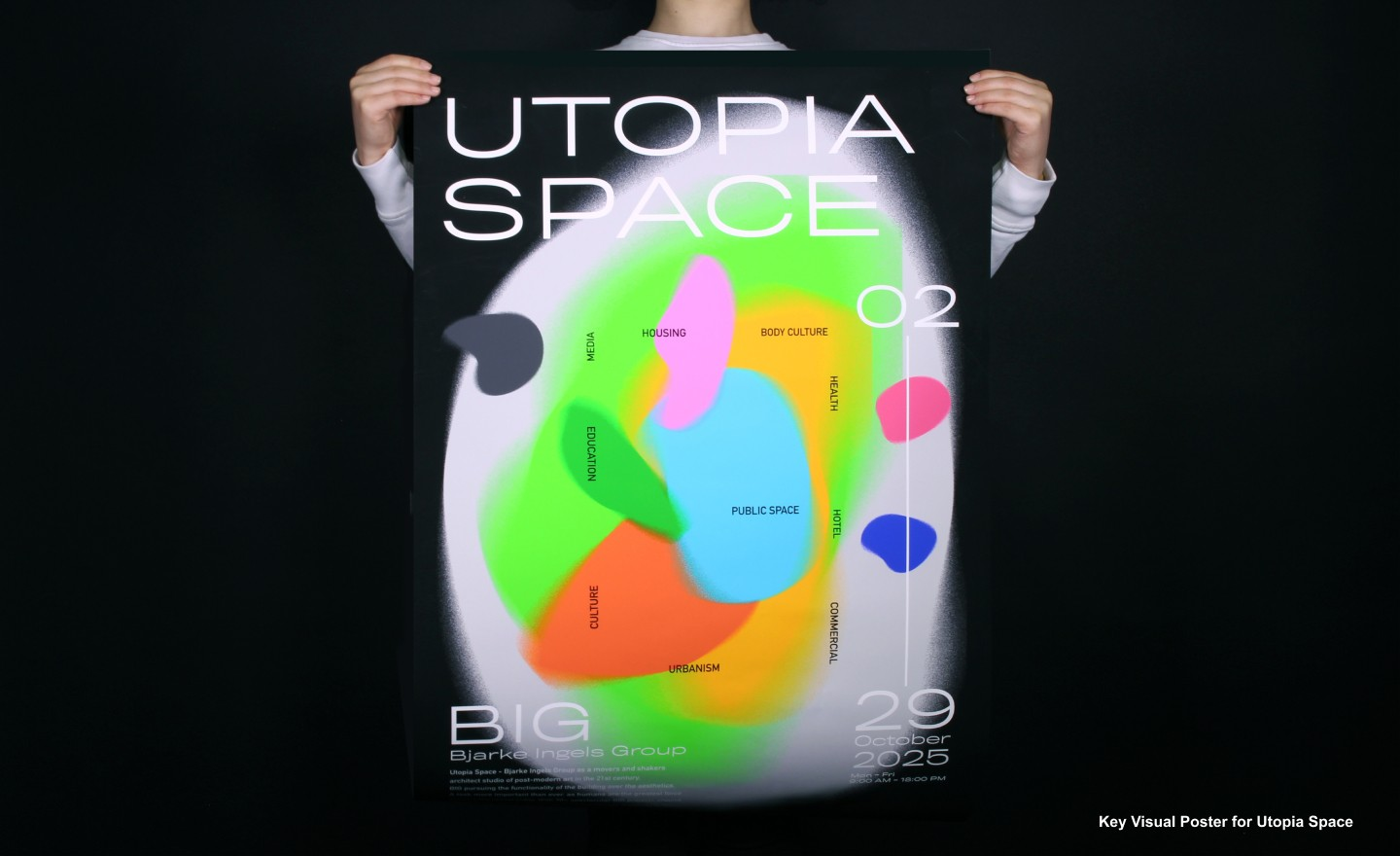 """Utopia Space is a visual identity created for an exhibition in Tate with the same name. The exhibition is showing the architectural work of Bjarke Ingels, the collaborator of BIG Architecture. The name """"Utopia Space"""" is a summary of Ingels' design: bearin"""