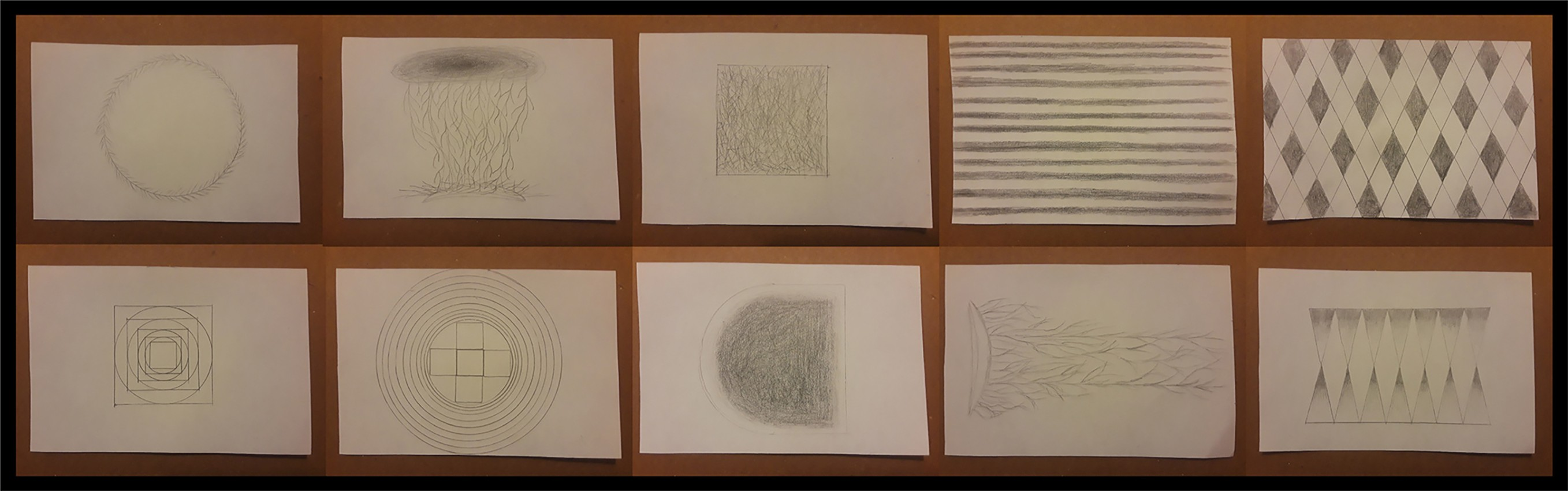 Collage of 10 images of a pencil drawing designs on small notepad paper