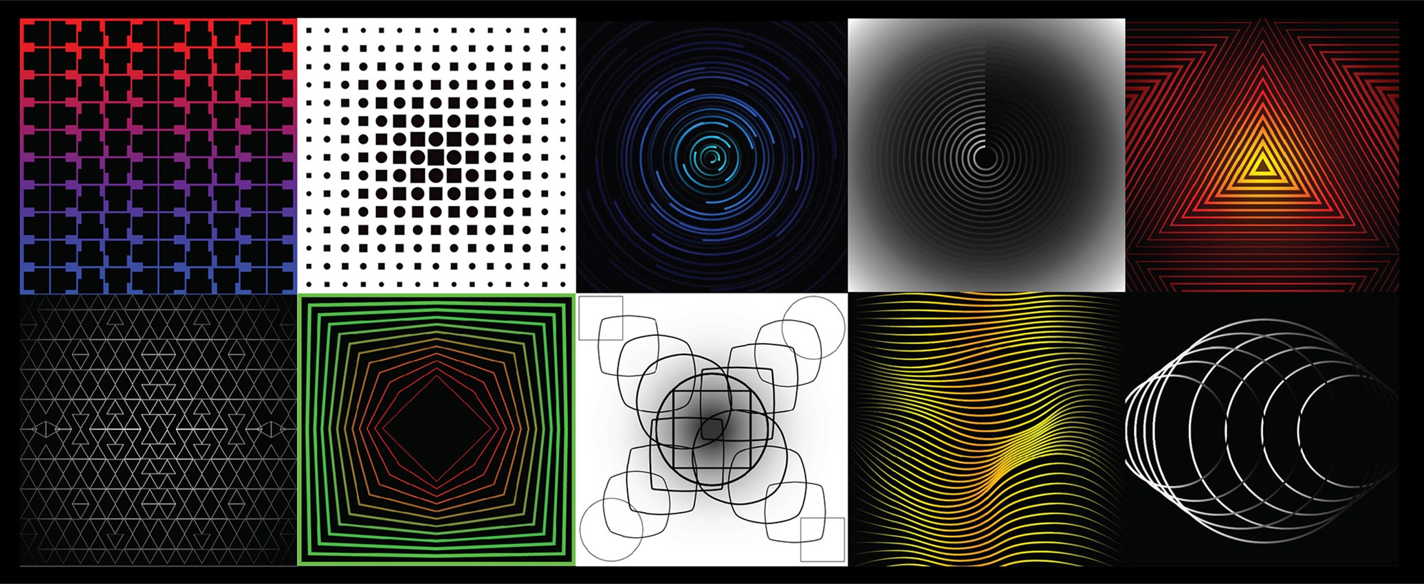 Collage of 10 images with varying color palettes, and line and shape designs