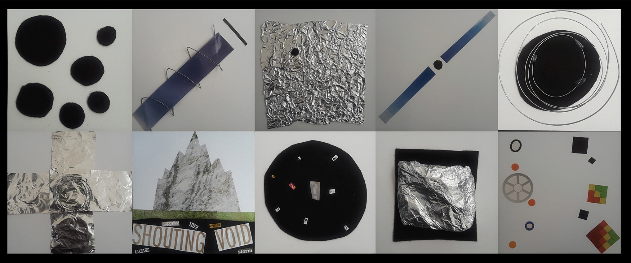 Collage of 10 images using varying materials from magazines, aluminum foil, metallic wiring, and felt