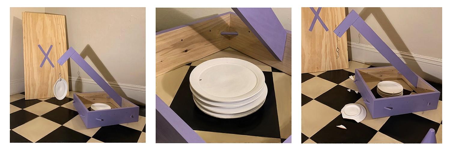 Kick Me. Poplar, plywood, bisque earthenware, paint, metal hook, plastic cones