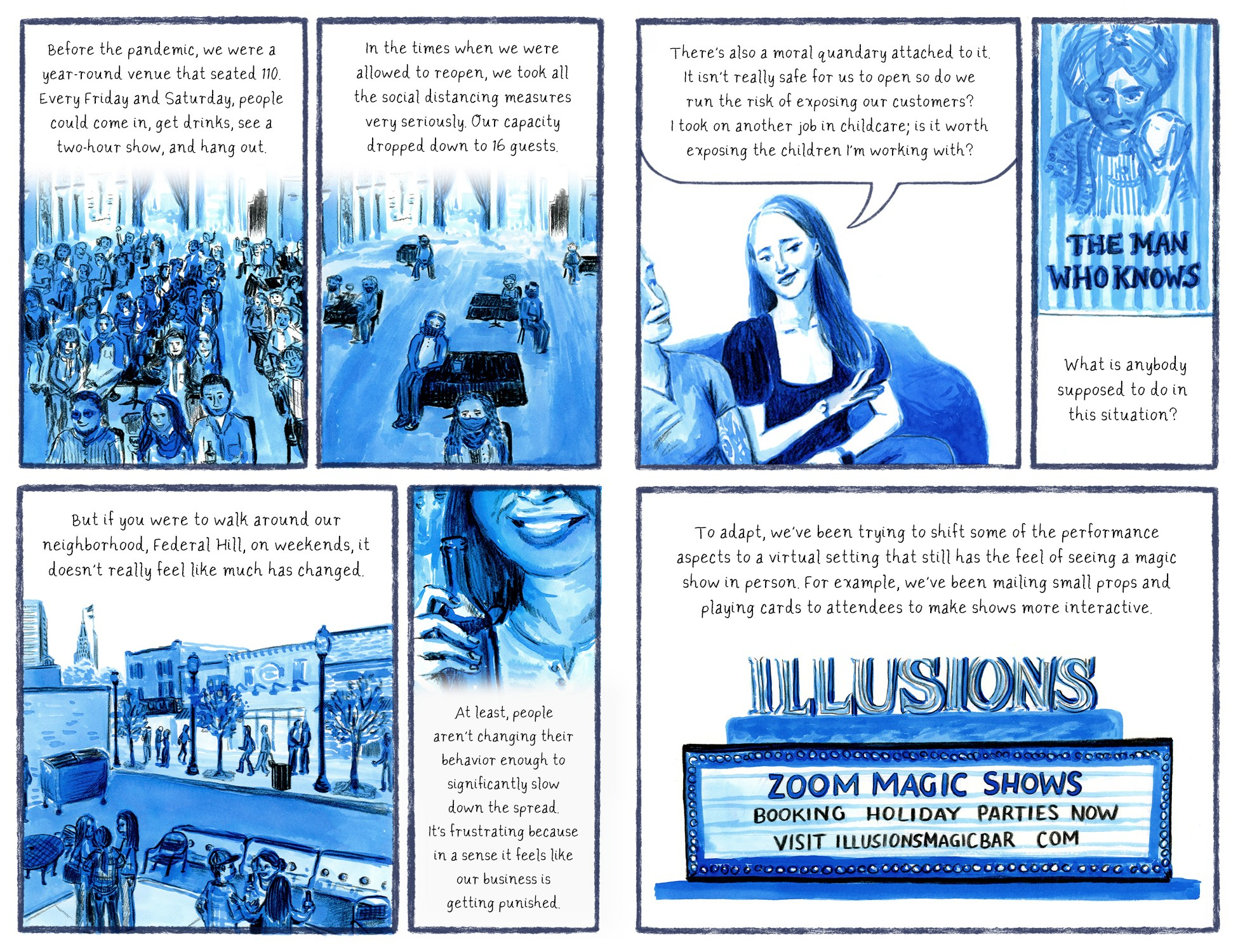 Illustrated interview with Illusions co-owners Spencer and Caroline Gayle Horsman.