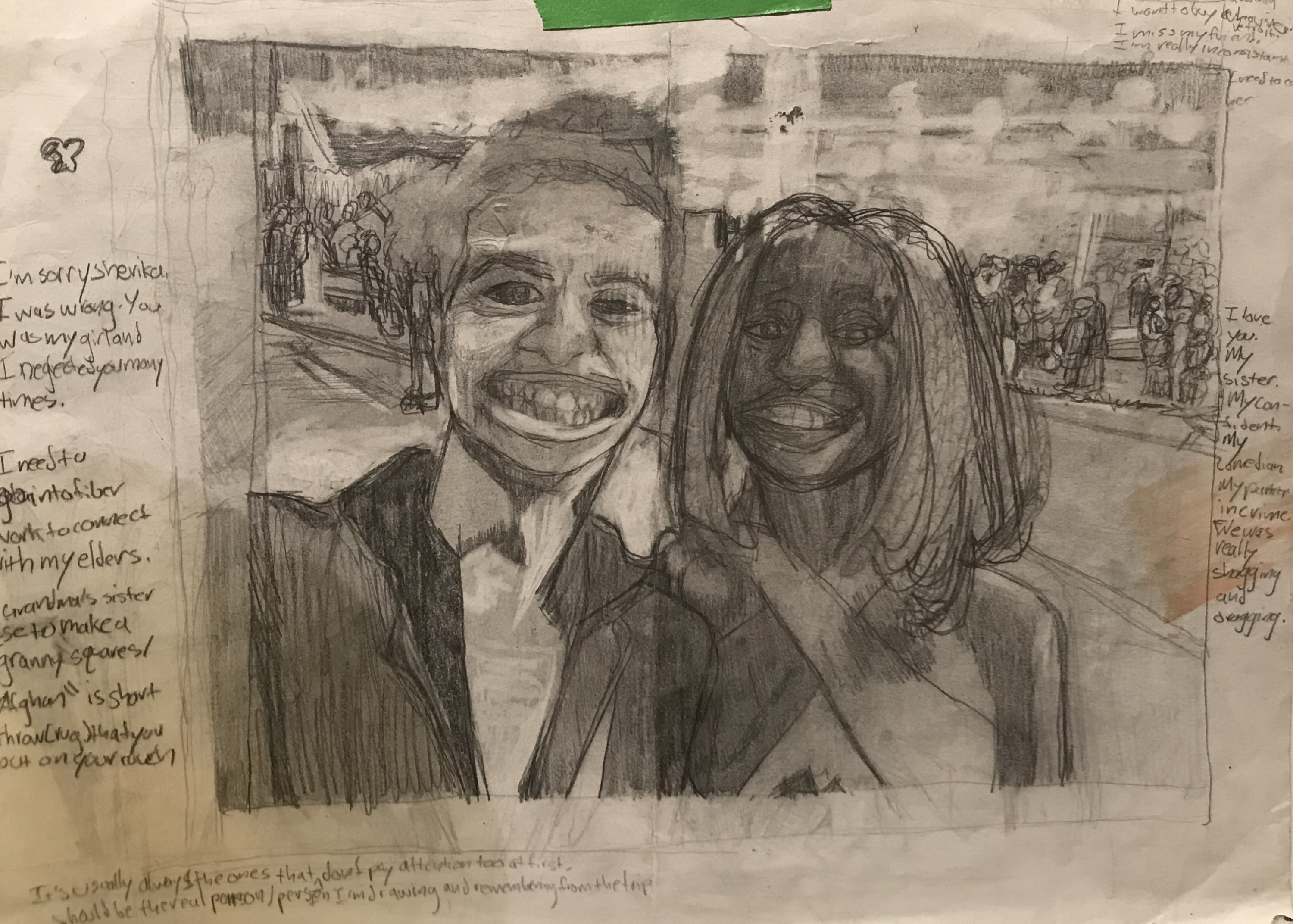 This is a study I created during Fall 2020 when I was struggling in MAT. This semester reminded me of my struggles studying abroad. Sherika and I persevered with teamwork and laughter. I drew this memory of us to reflect on our experiences. I wanted to re