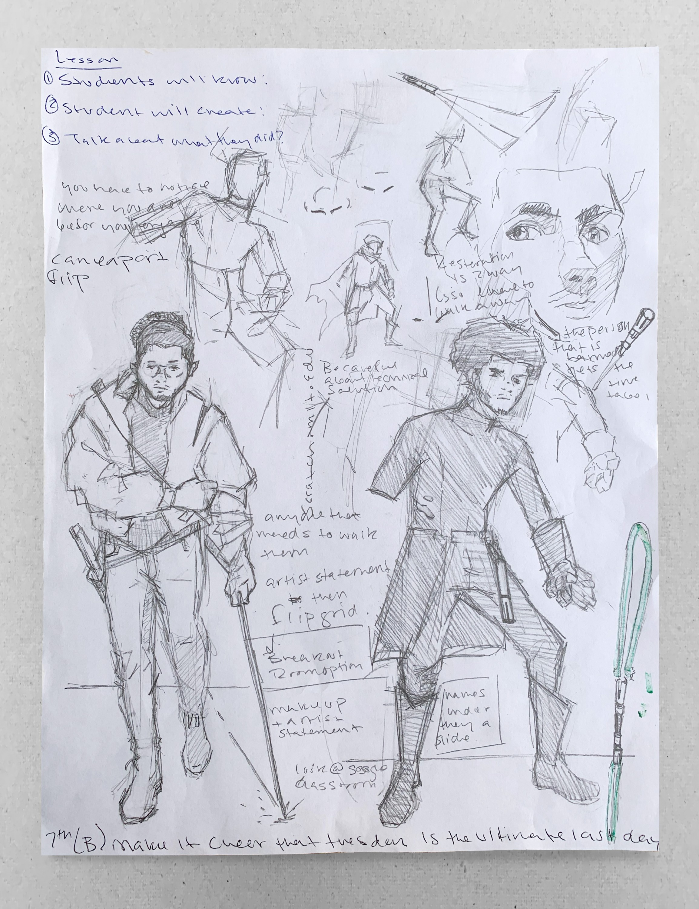 This is a preliminary drawing used to help me plan and prototype for a lesson on character design. Students created a character based on themselves. Toward the end of this unit students redesigned their character after they completed a quest.