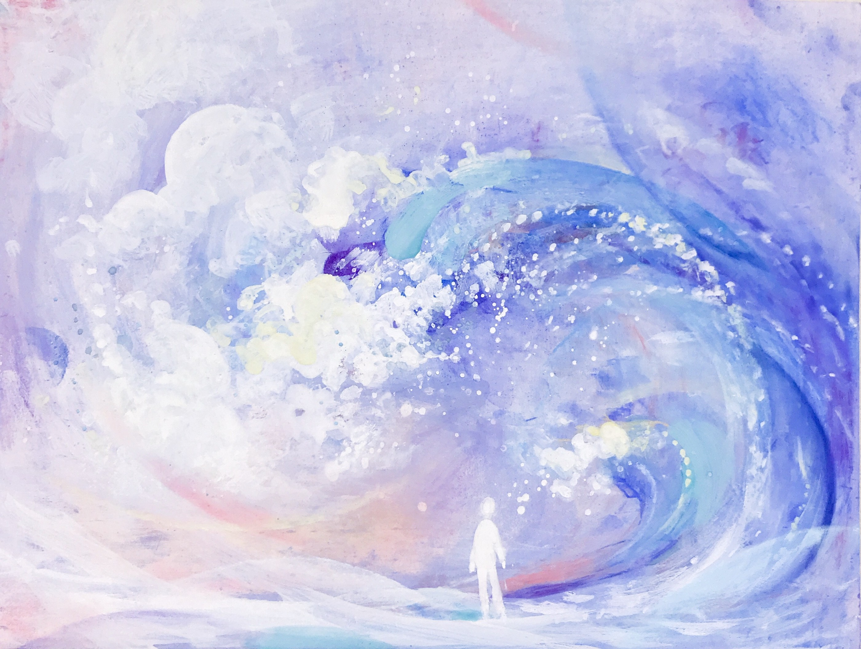 "The first piece of ""Synesthesia"", express a general feeling when people listening to the symphony, just like a small figure under the huge wave"